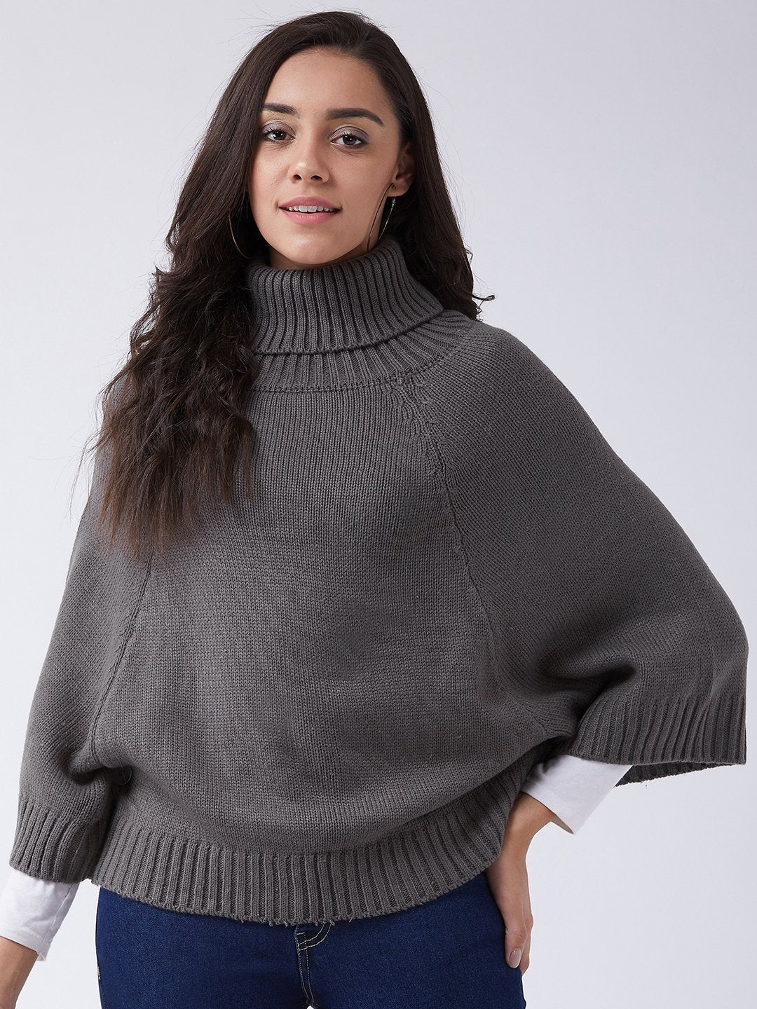 Grey Sweater Poncho
