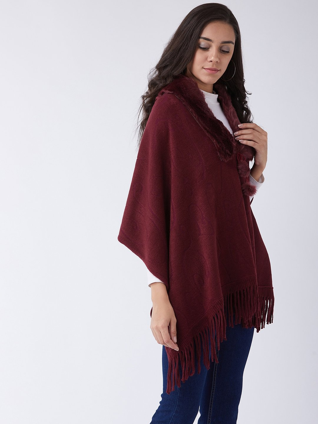 Maroon Faux Fur Cape