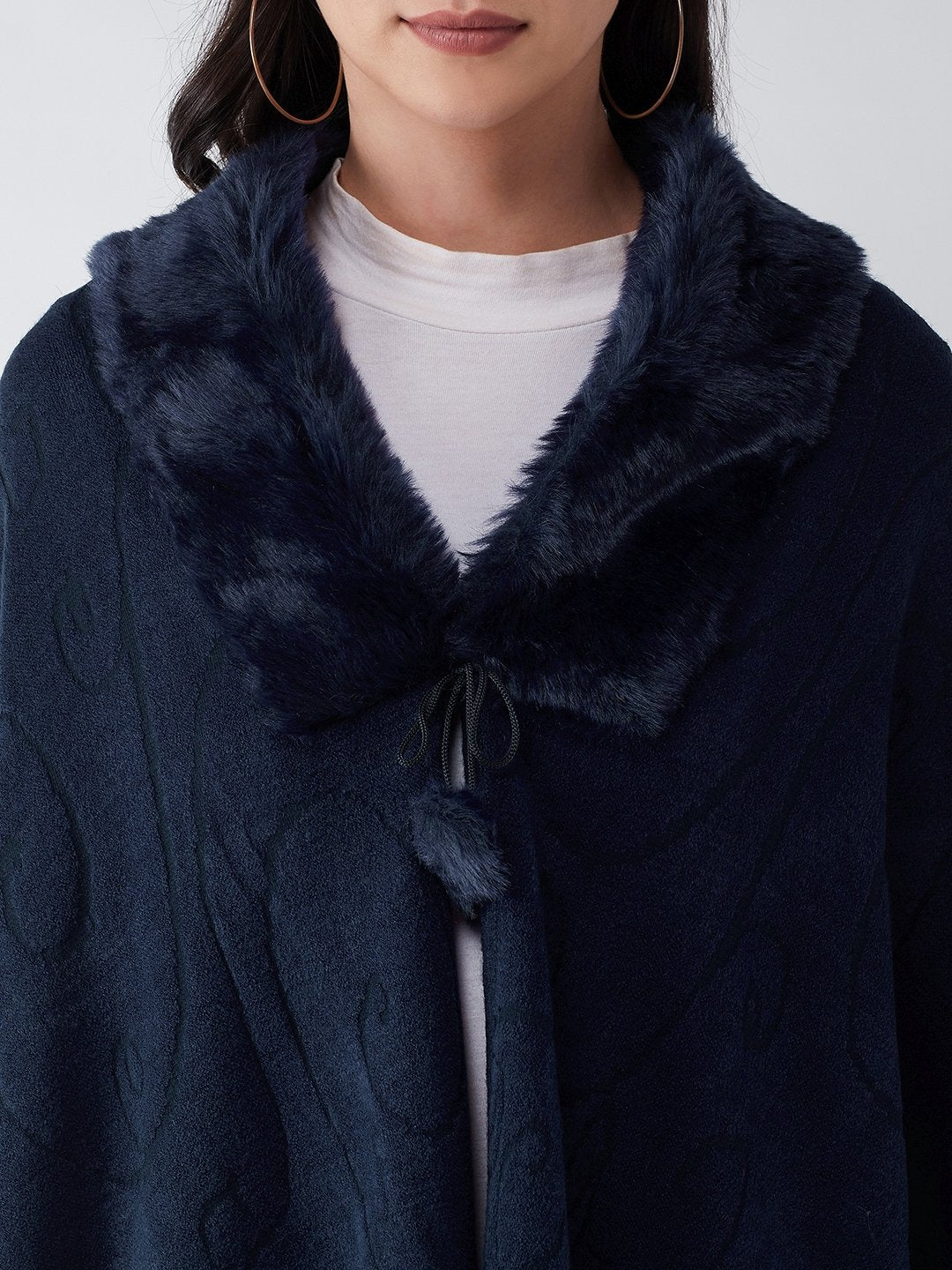 Blue Faux Fur Cape