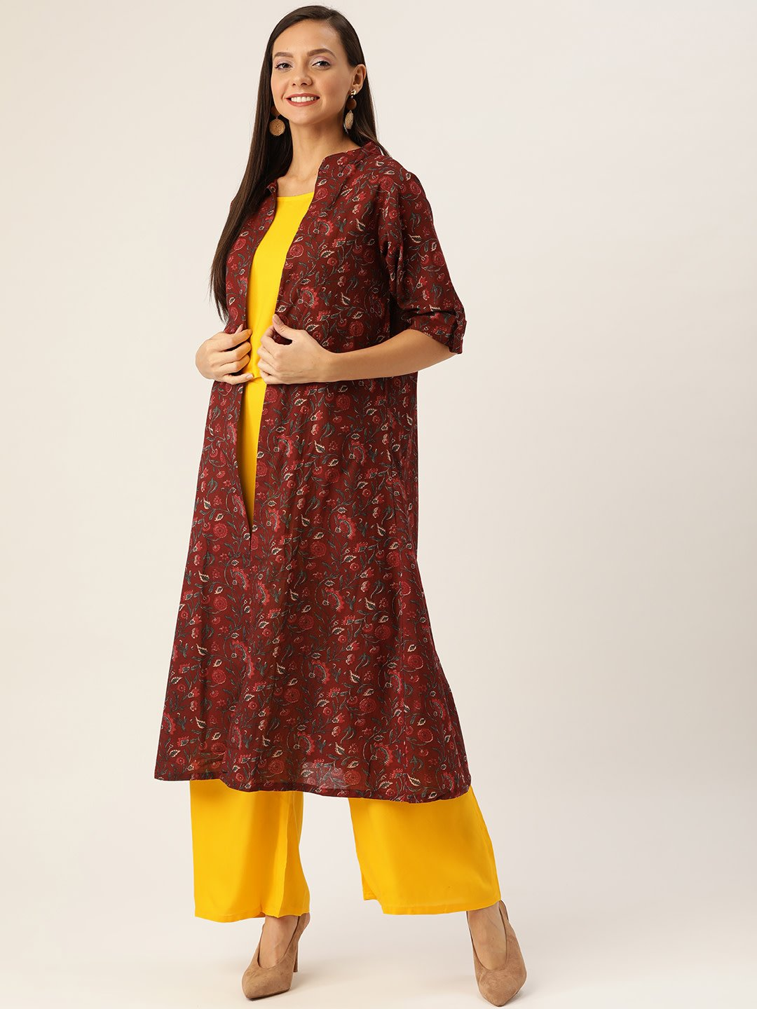 YELLOW SET WITH MAROON SHRUG