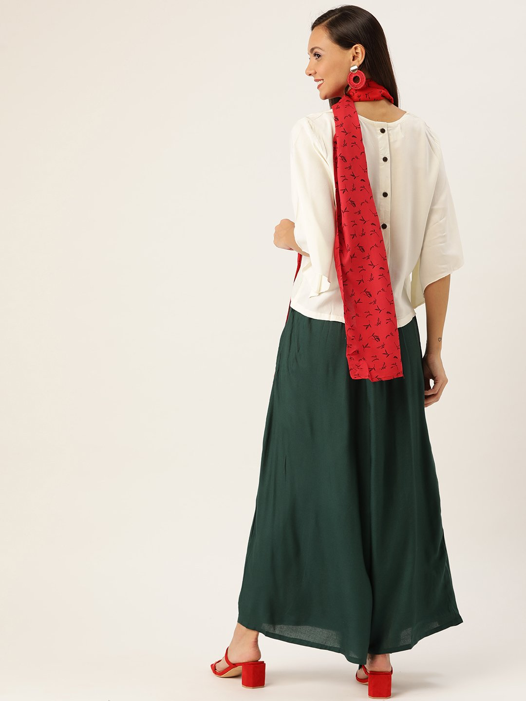 White Green Top Bottom Set, Red Scarf