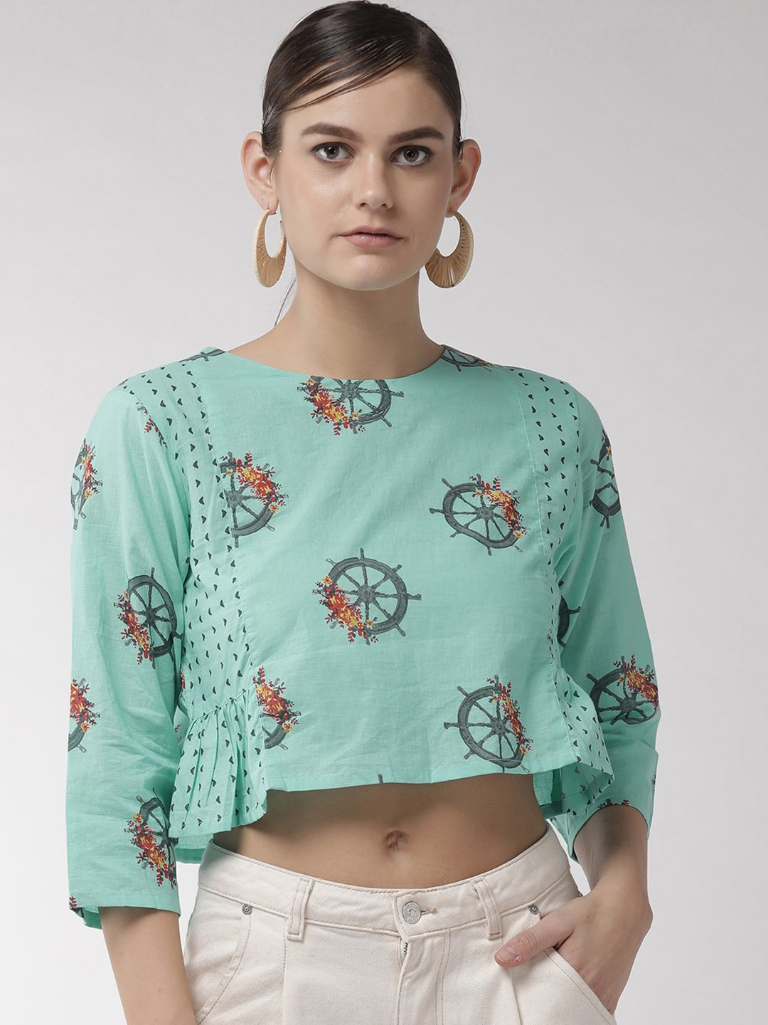 Blue Wheel Crop Top