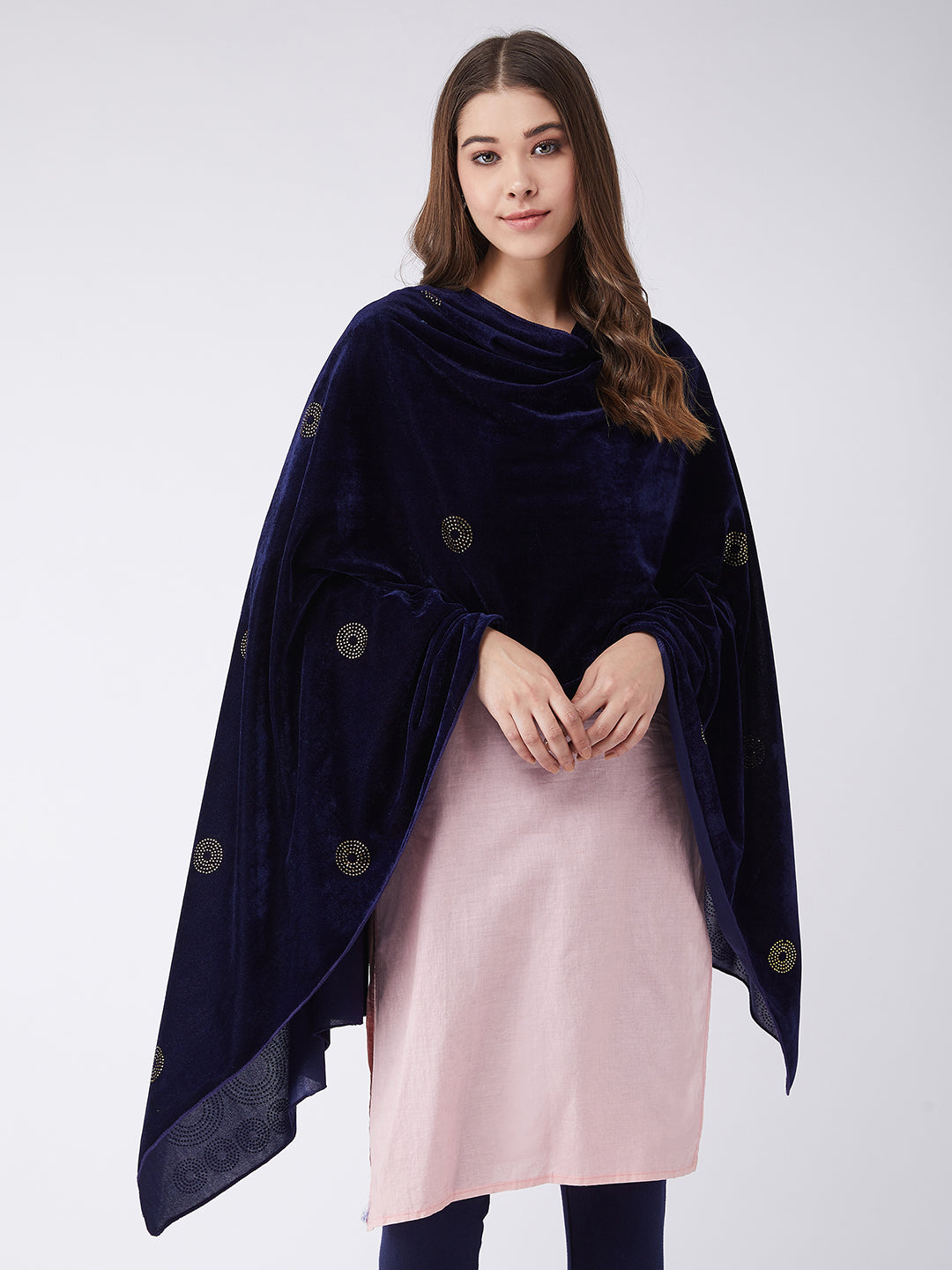 Blue Velvet Shawl with Faux Crystals
