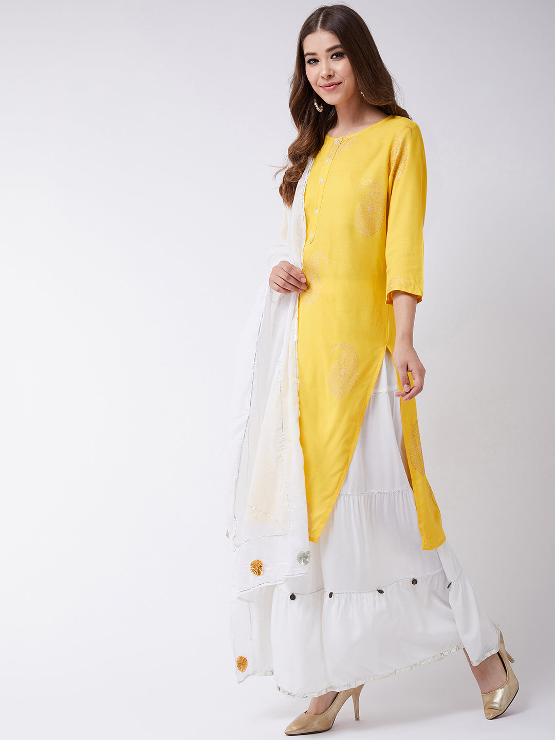 Yellow Khadhi Print Kurta With Skirt and Dupatta