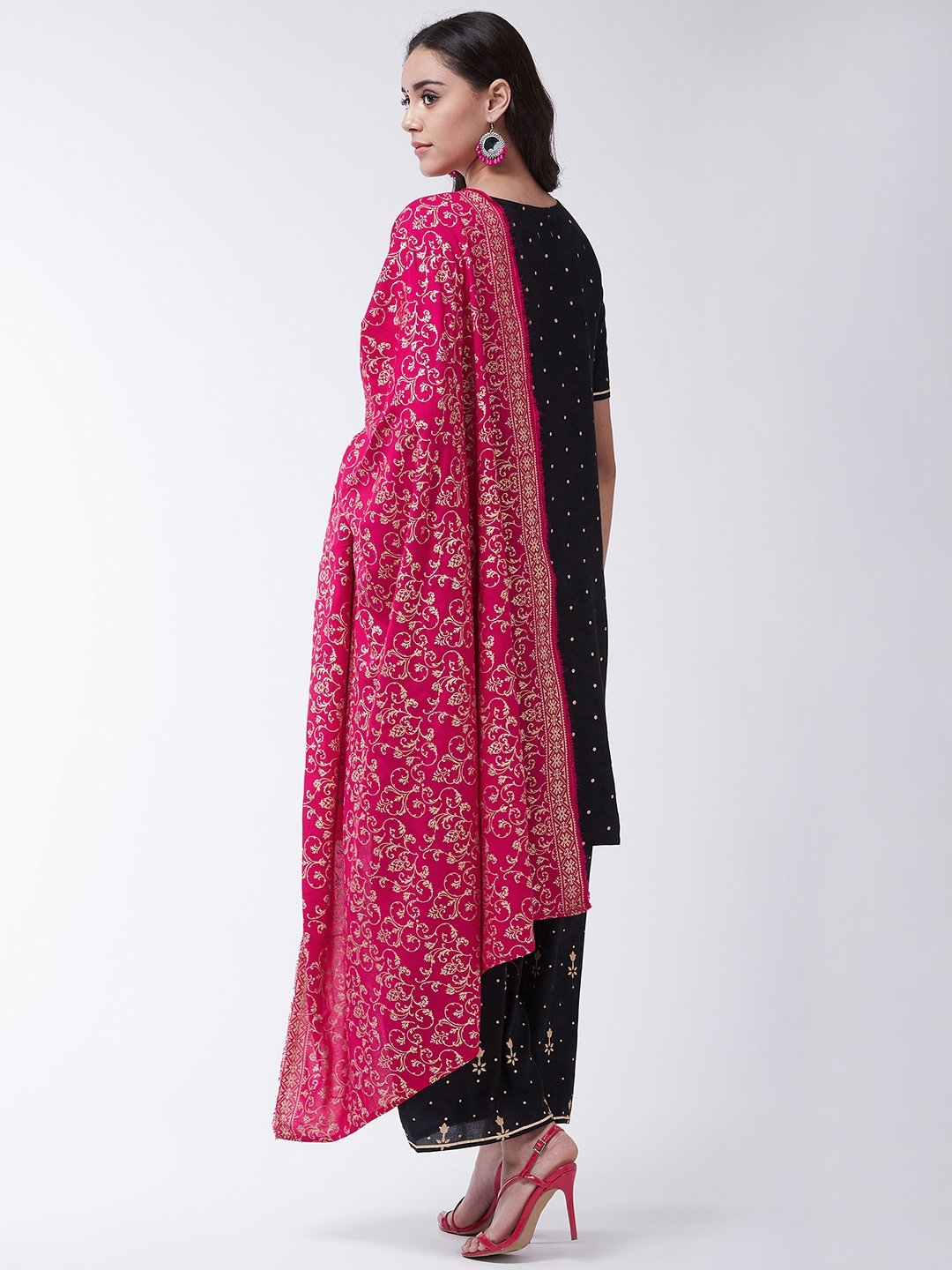 Black Gold Print Kurta Palazo Set With Magenta Dupatta