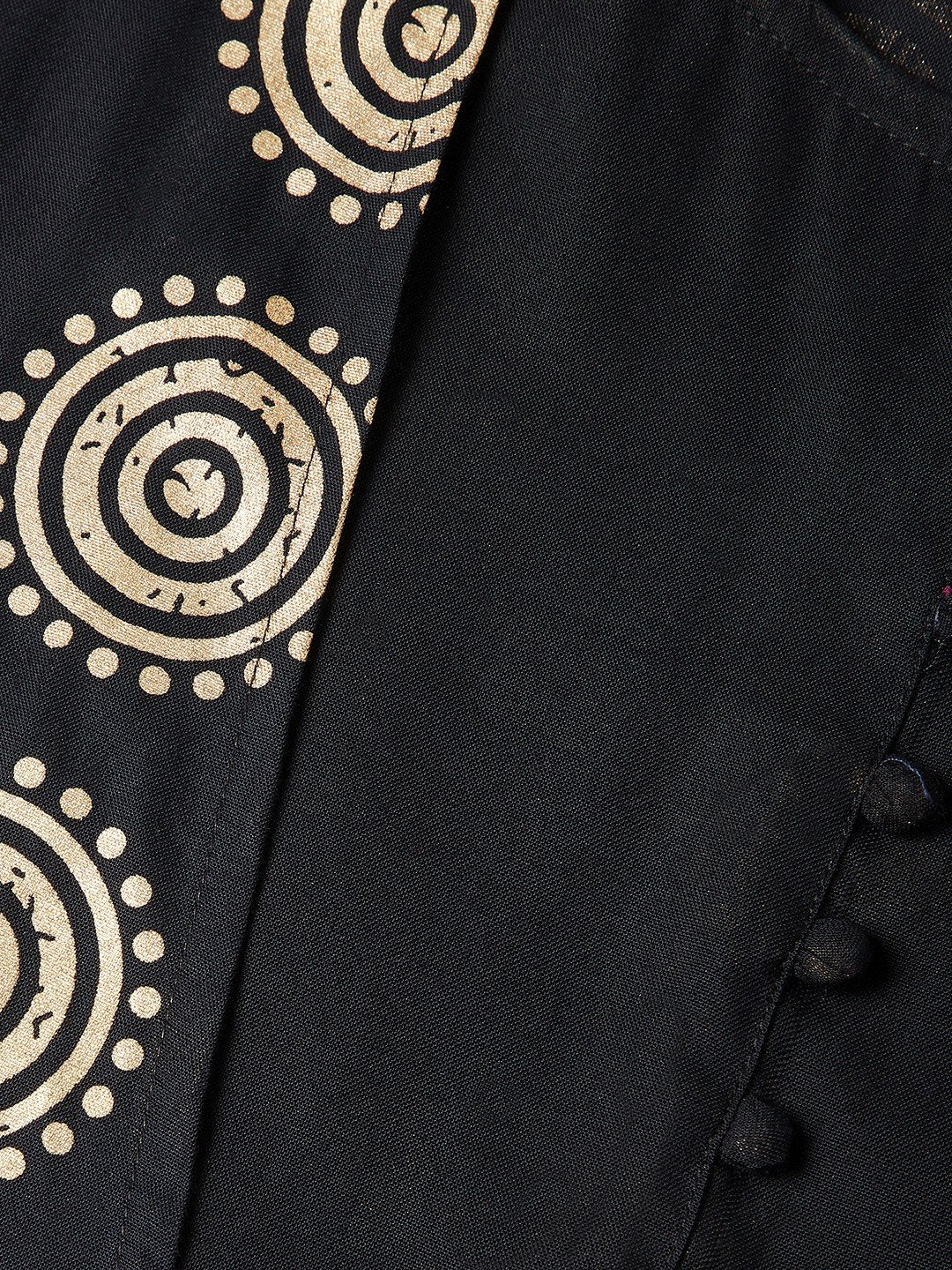 Floor Length Kurta With Jacket In Black & Gold