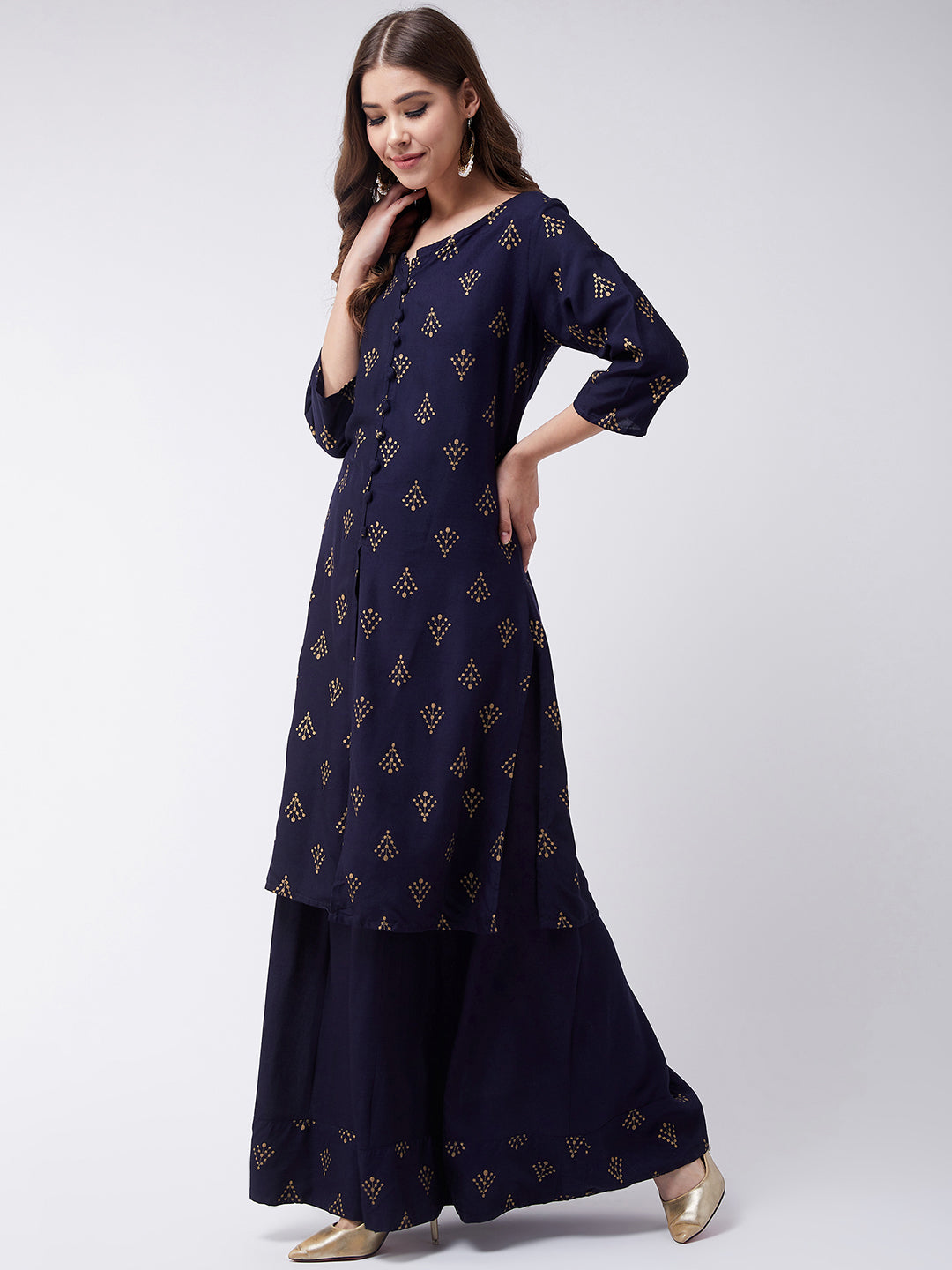 Navy Blue Khadi Work Kurta With Skirt