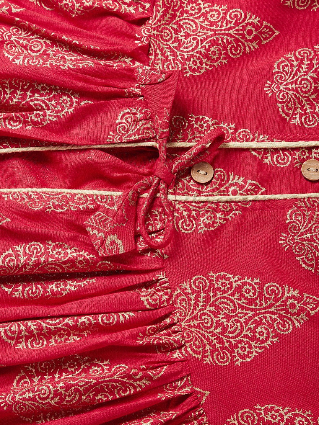Red Khadi Work Slit Kurta With Palazo