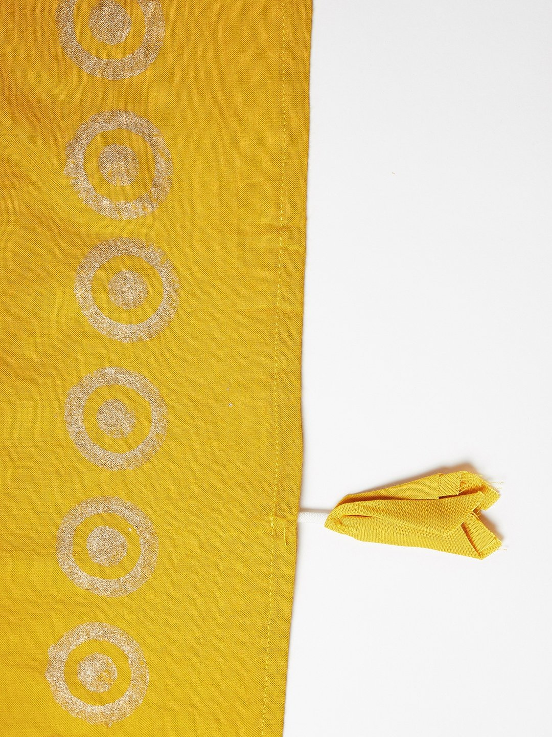 Off White Kurta - Bottom With Mustard Dupatta