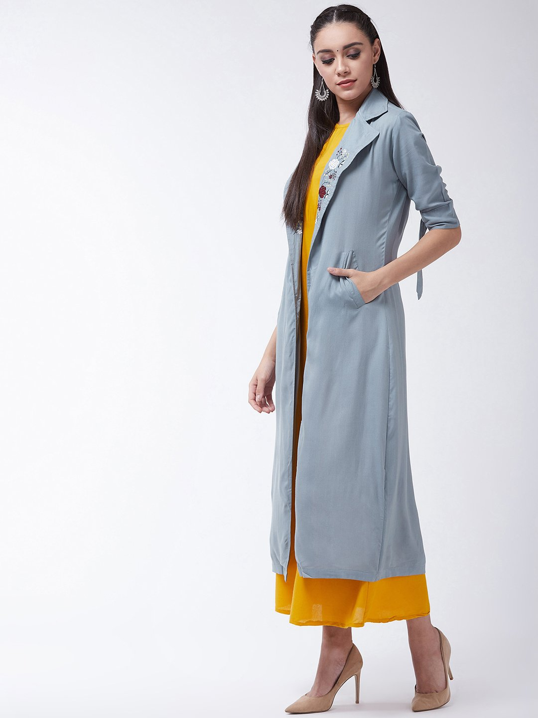 Mustard Dress With Grey Jacket