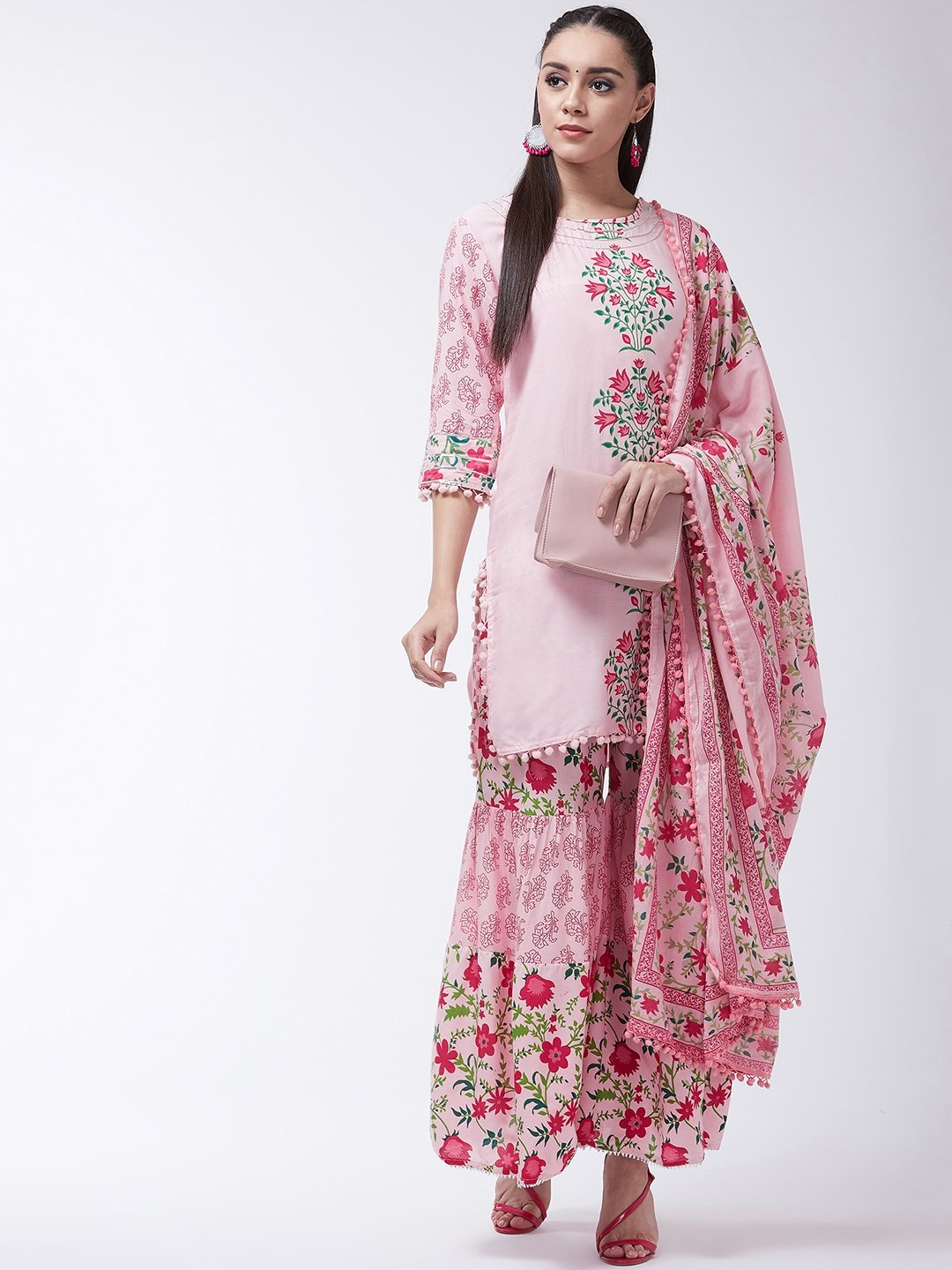 Pink Printed Kurta With Sharara And Dupatta Set