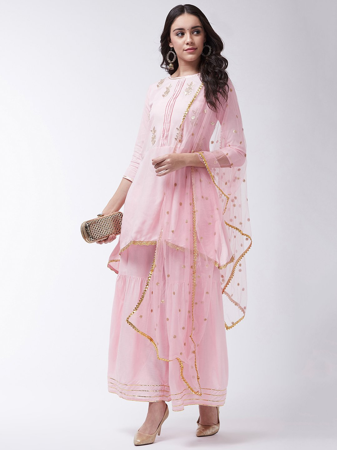 Pink Gotta Work Kurta Sharara With Net Dupatta