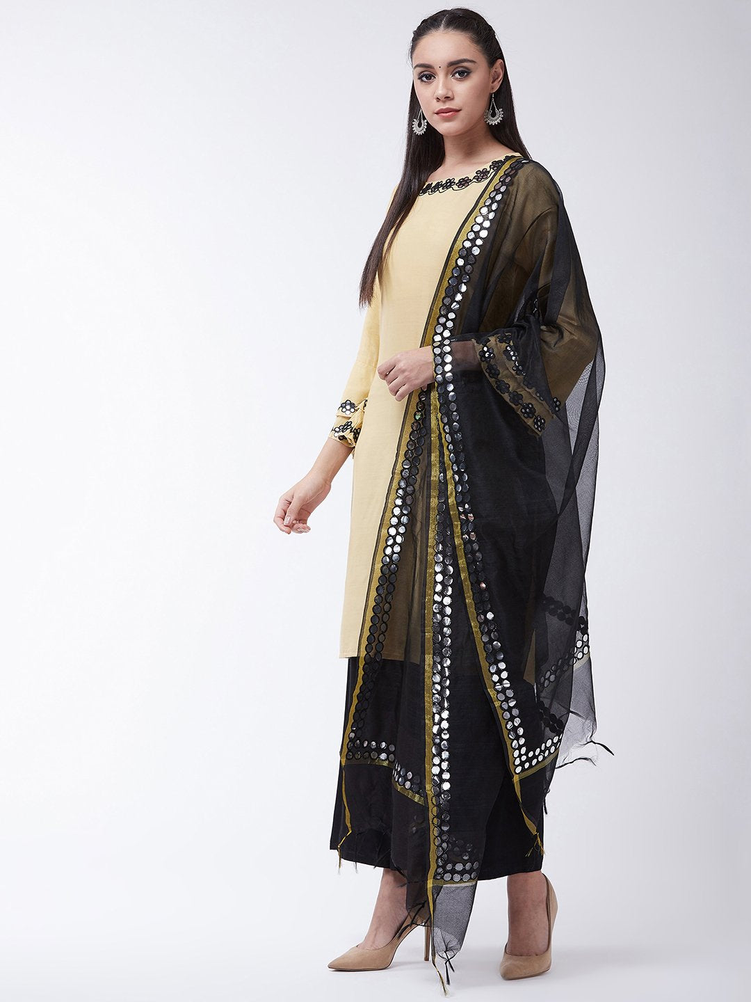 Mirror Work Beige Kurta With Black Dupatta And Palazo