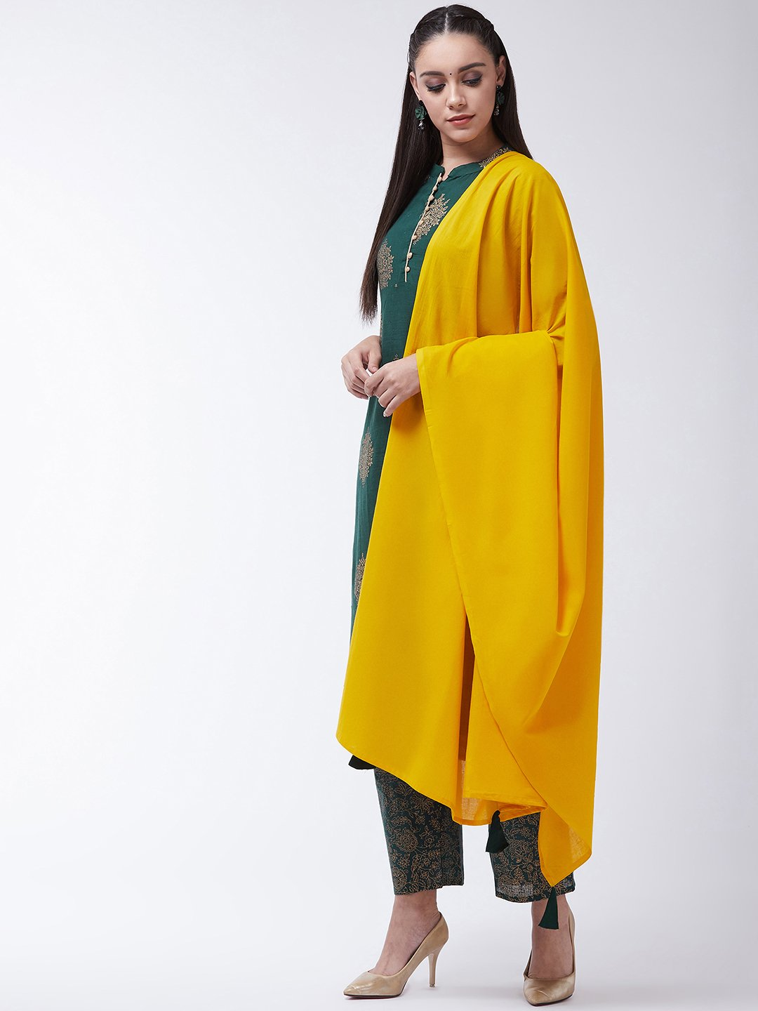 Bottle Green Gold Print Kurta Set With Mustard Tassel Dupatta