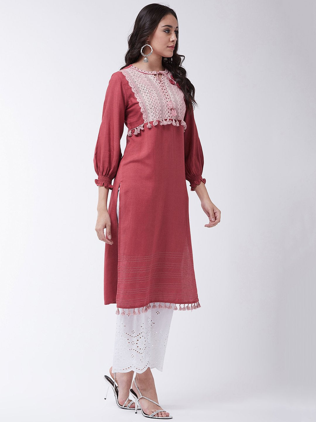 Onion Red Schiffli Chikan Work Kurta Set
