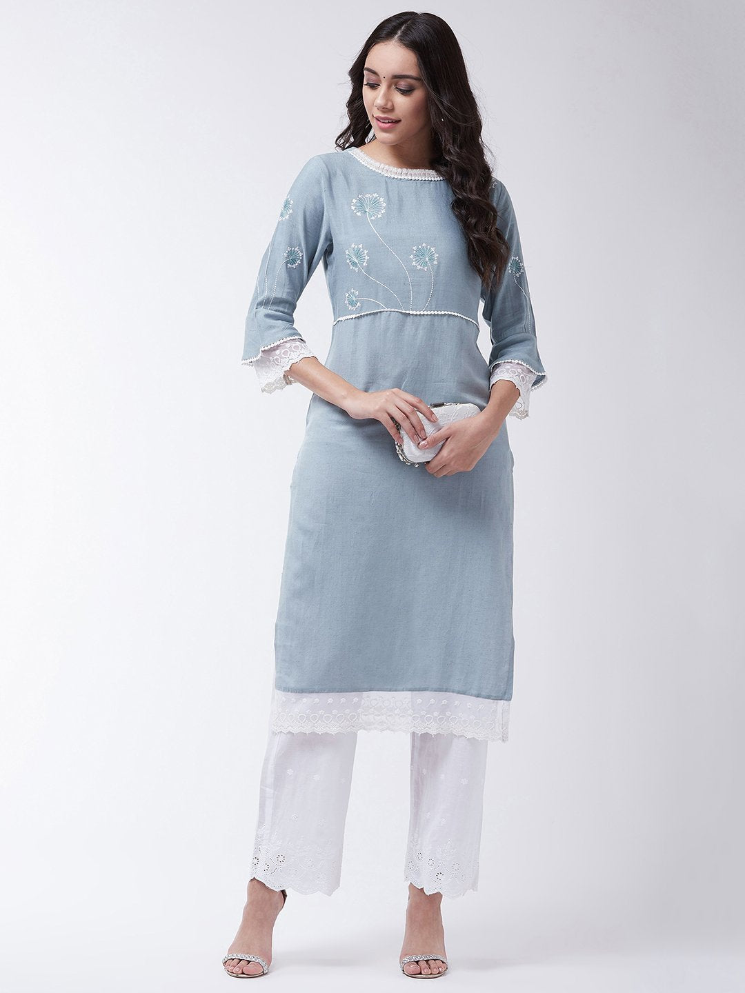 Light Blue Schiffli Chikan Work Kurta Set