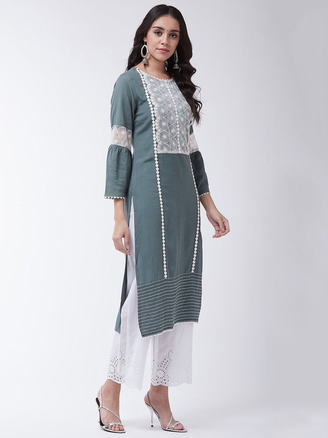 Dark Grey Schiffli Chikan Work Kurta Set