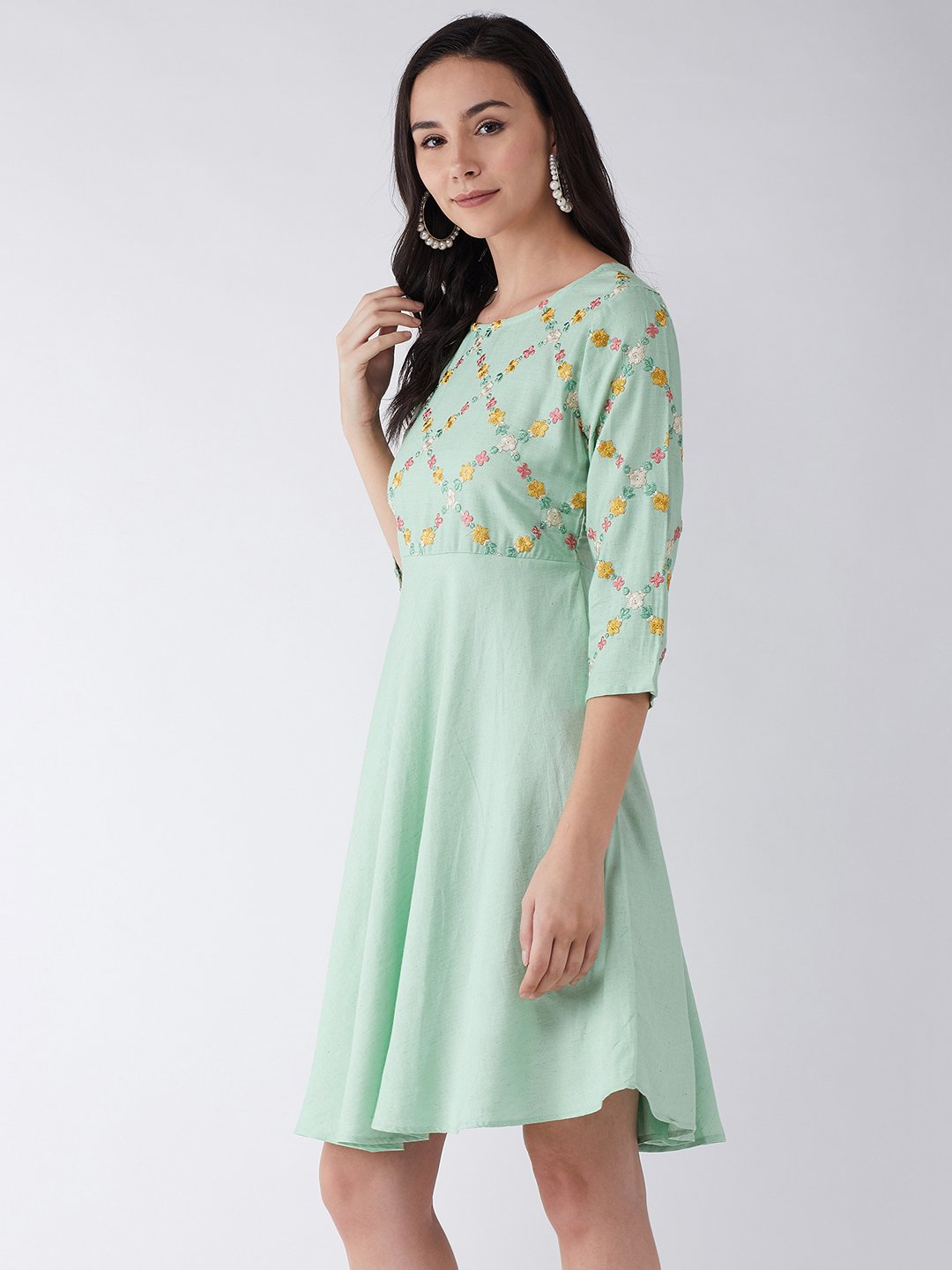 Nature Green Embroidered Dress