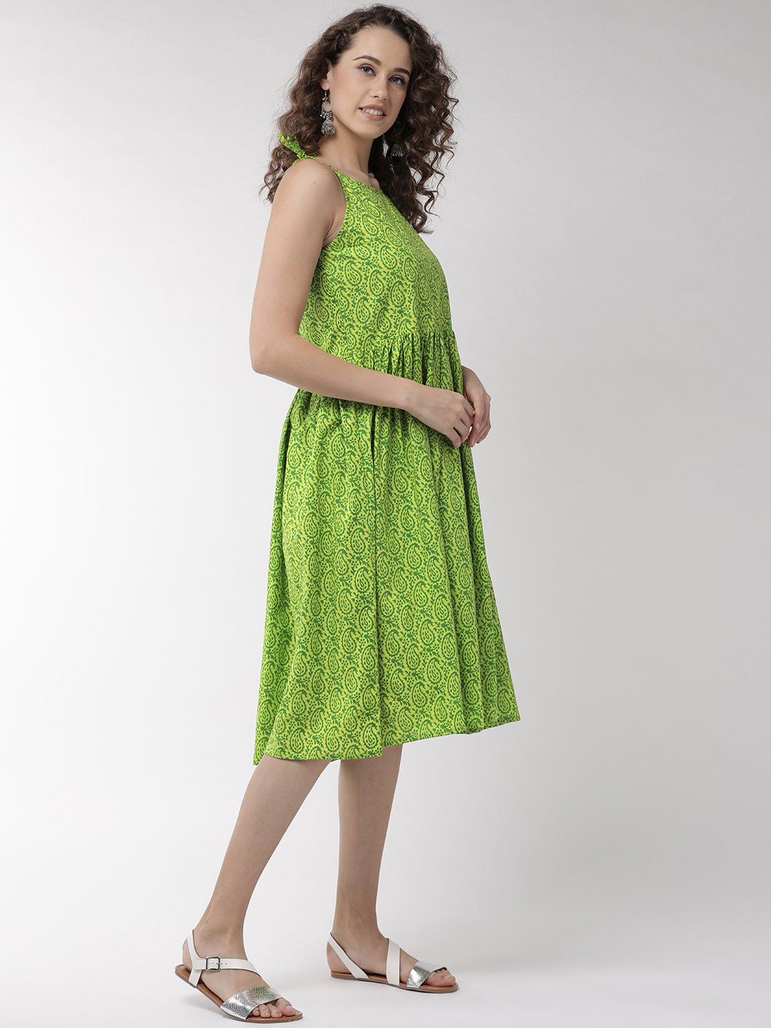 Green Printed Halter Neck Dress