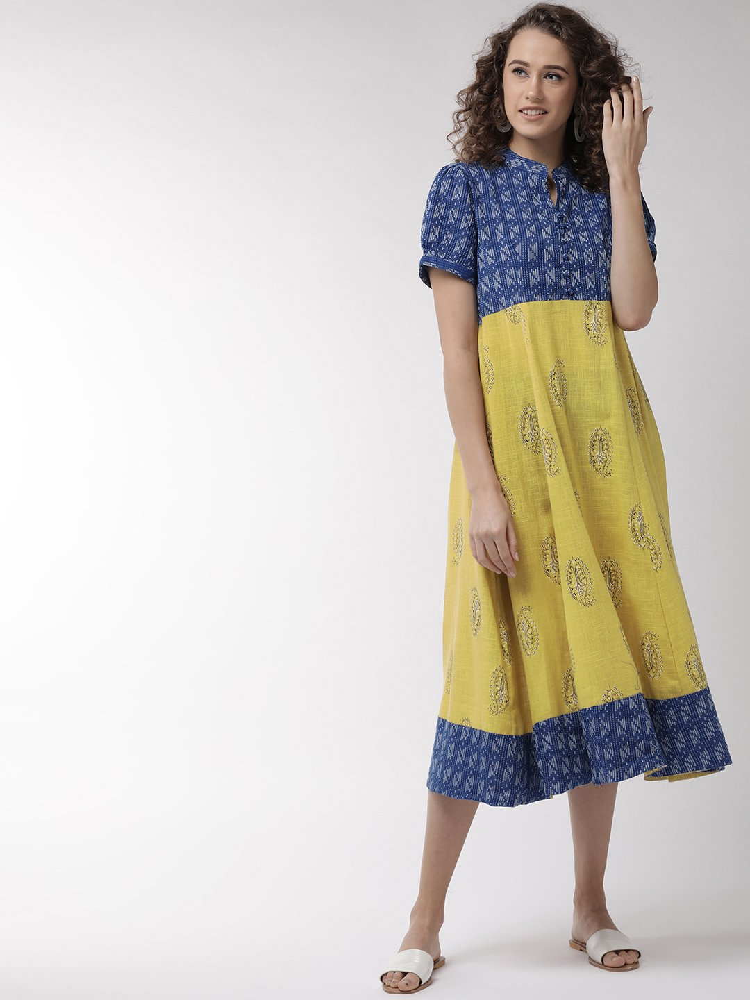 Blue with Mustard Prints Dress