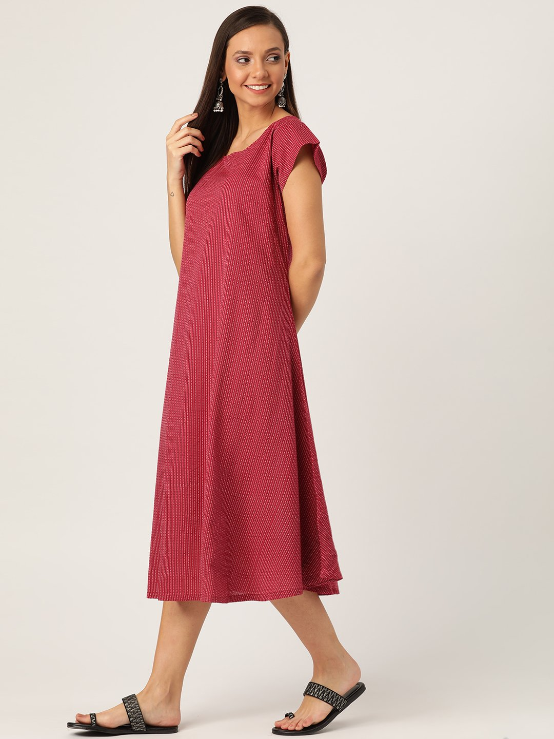 Maroon Kantha A Line Dress