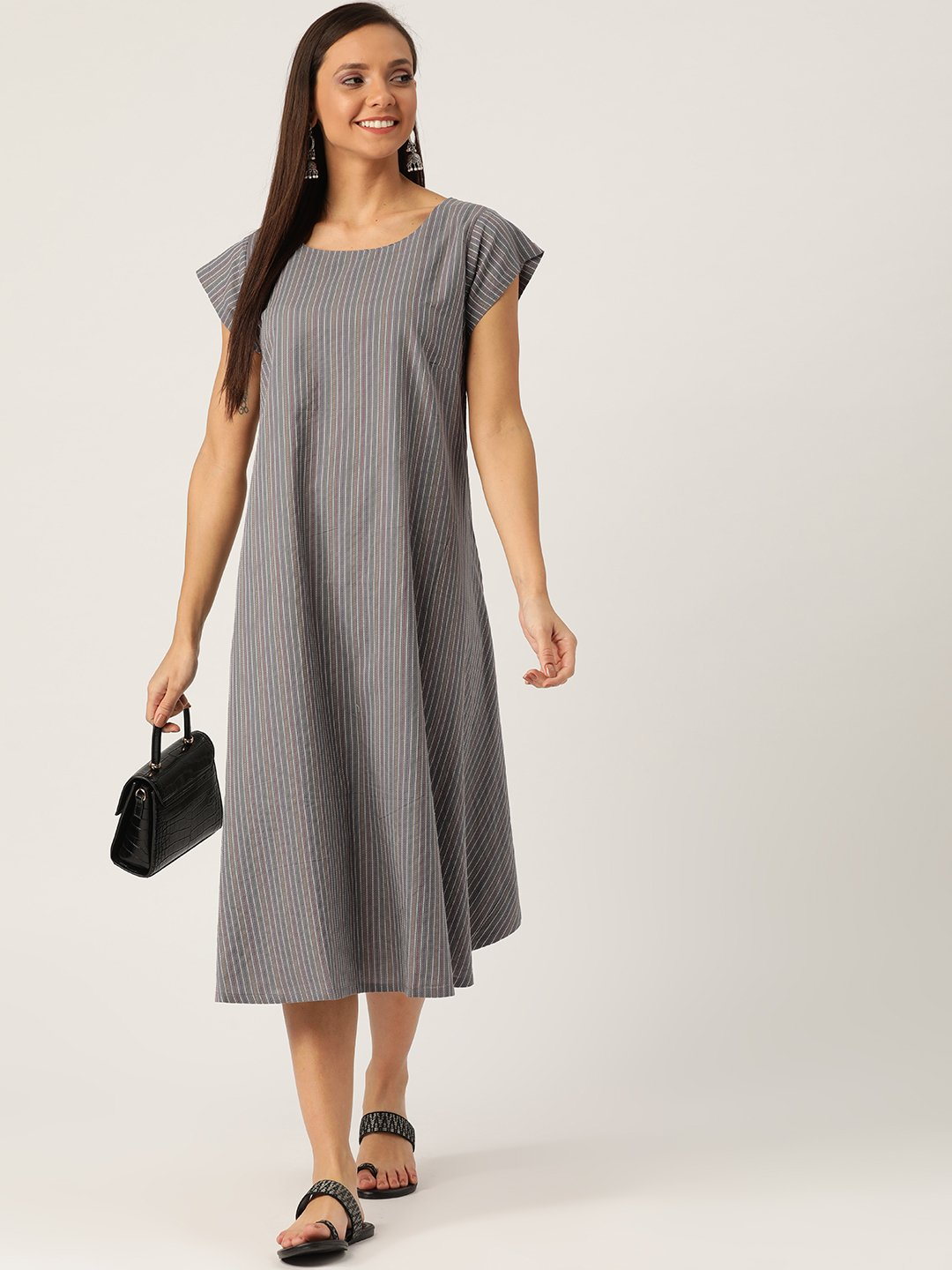 Grey Kantha A Line Dress