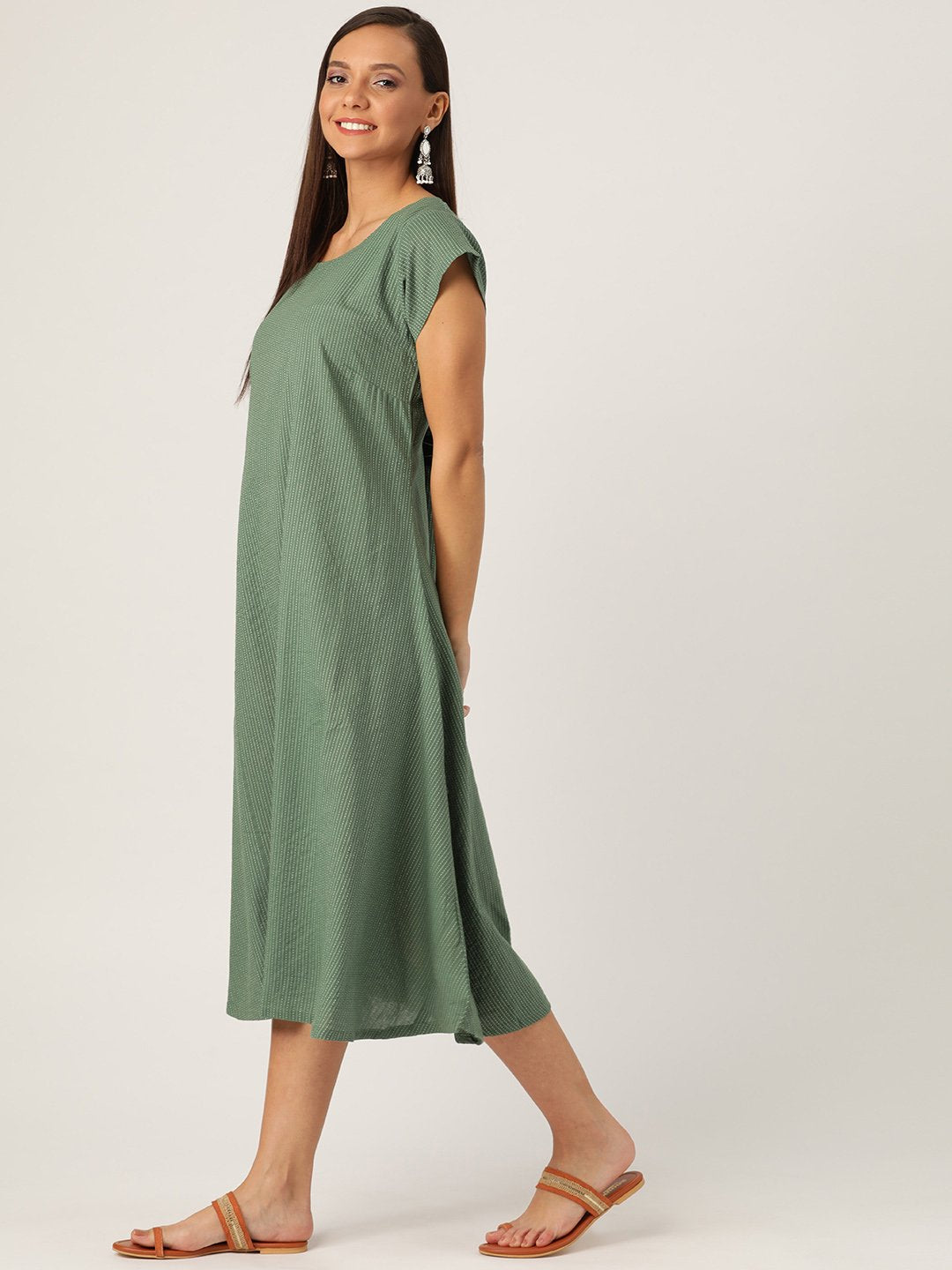 Dark Green Kantha A Line Dress