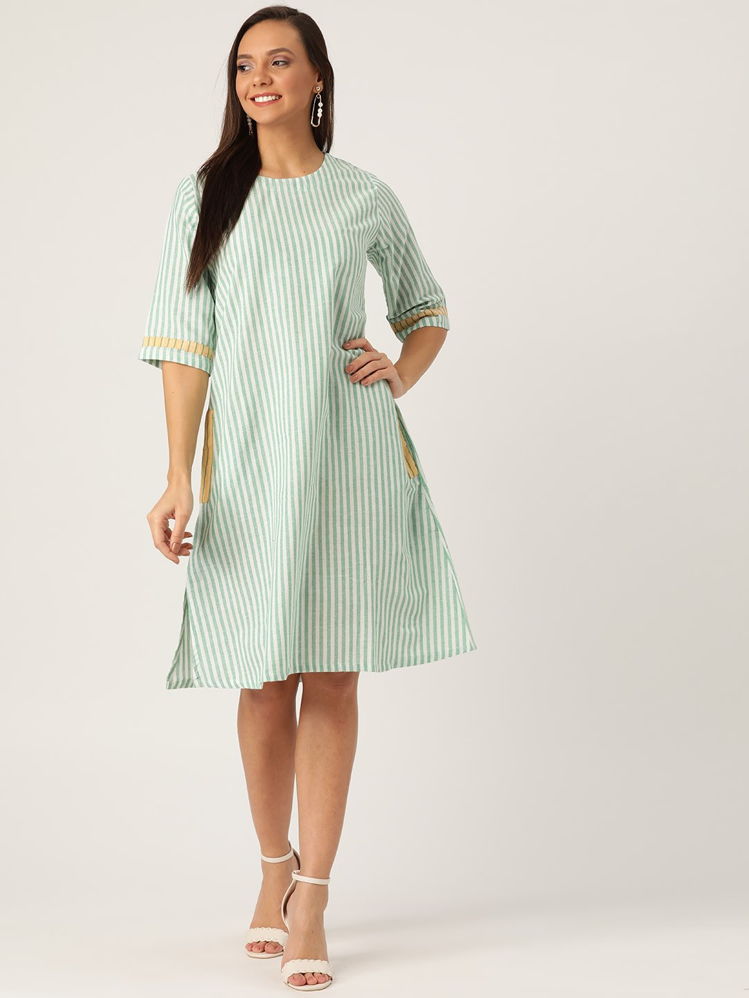 GREEN AND WHITE STRIPES DRESS