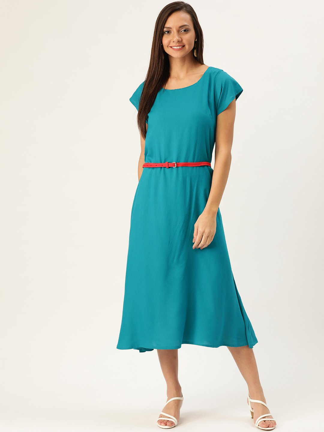 Aqua Blue Dress Red Belt