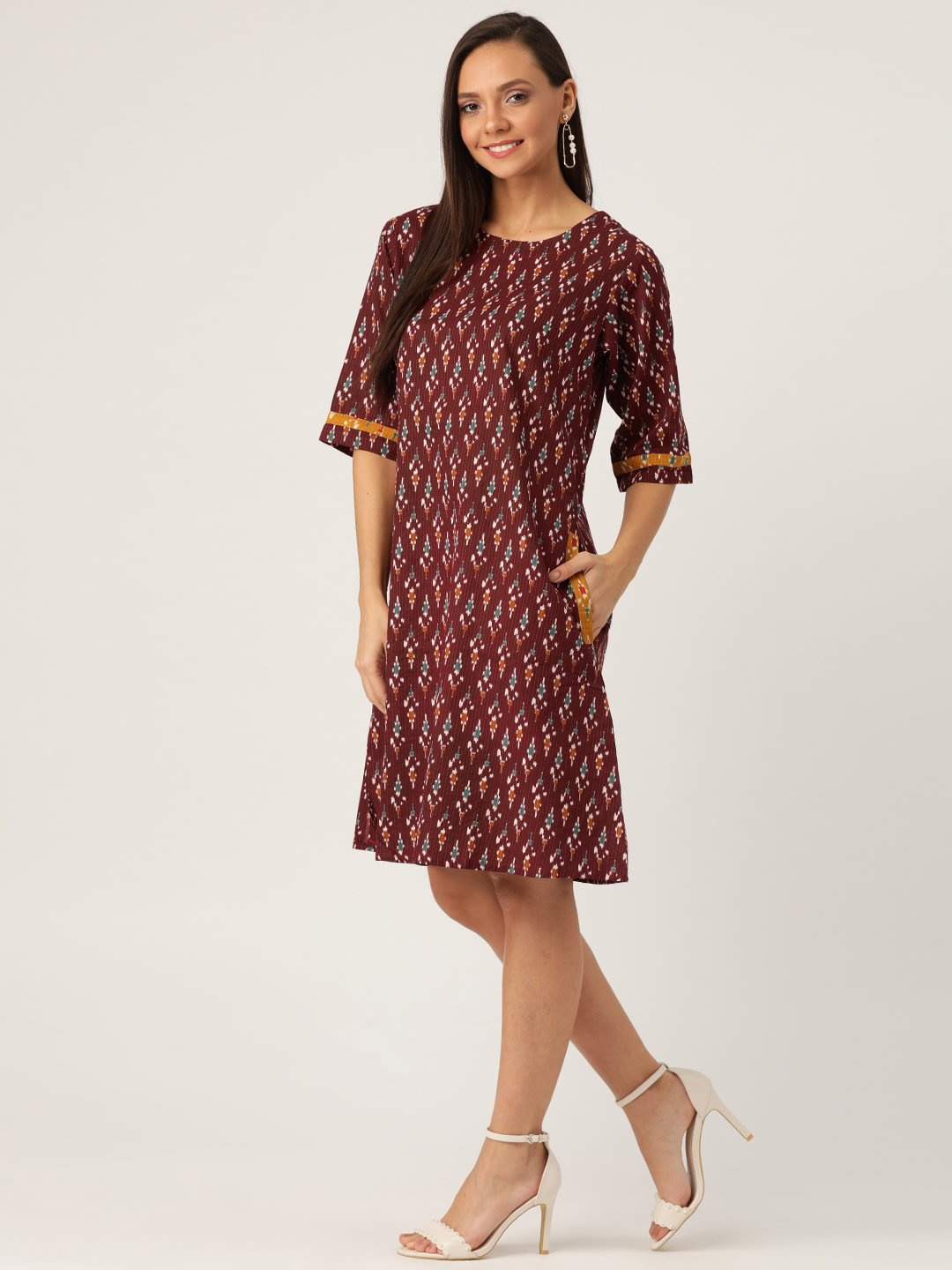 BROWN KANTHA IKKAT DRESS