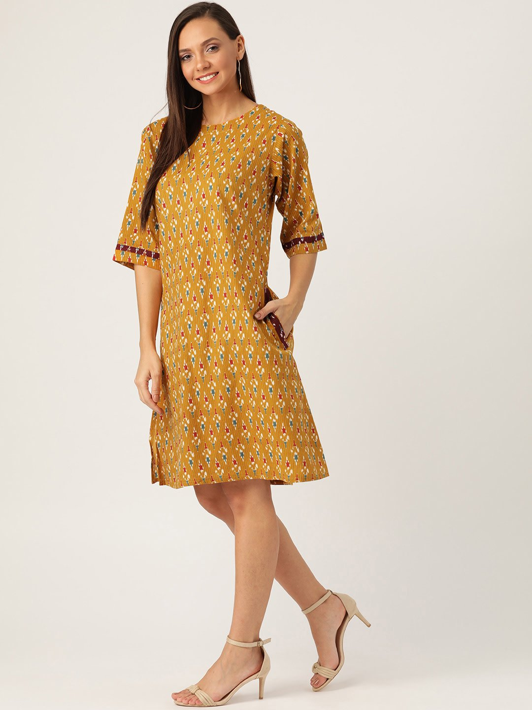 MUSTARD KANTHA IKKAT DRESS
