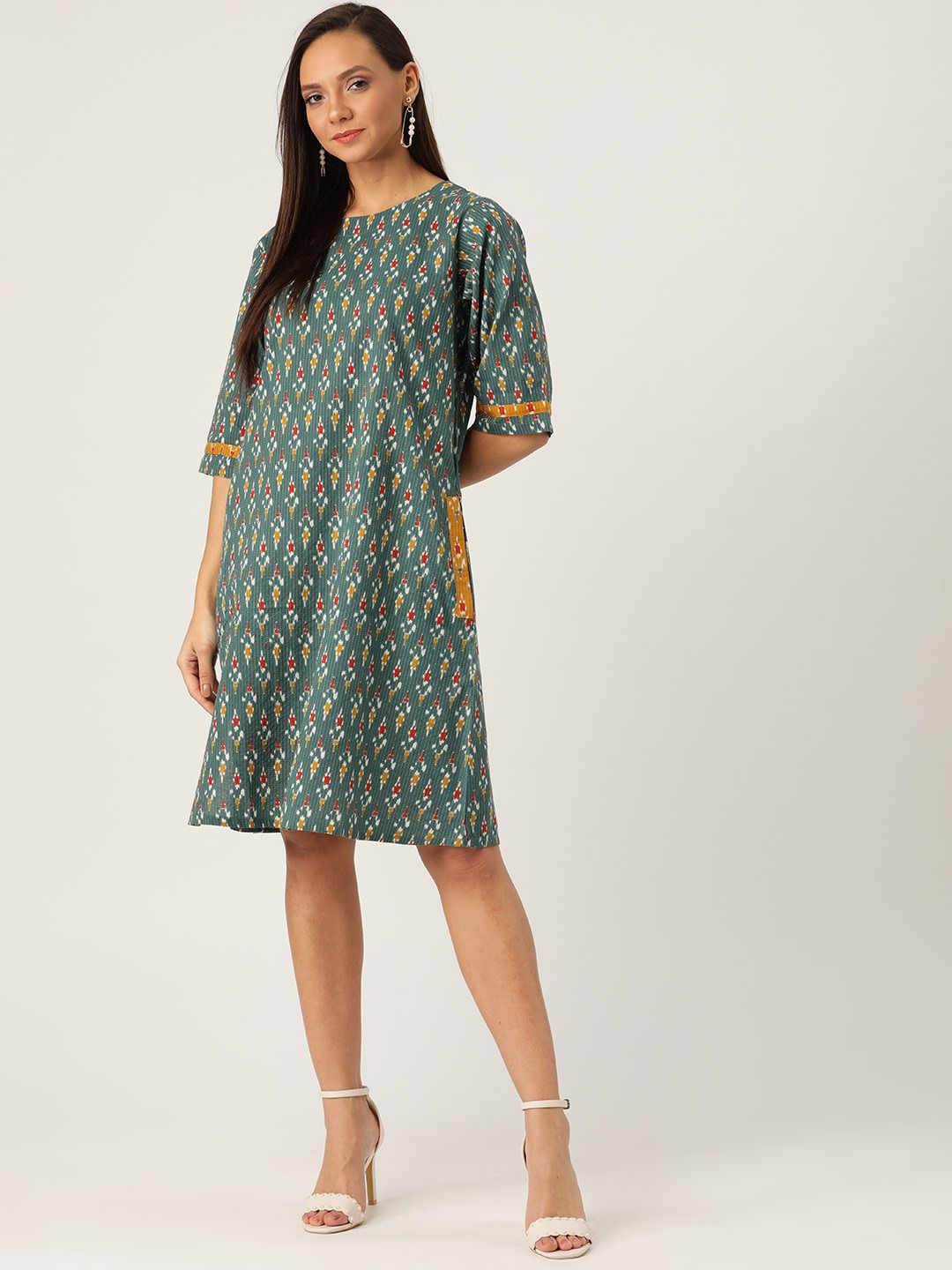 GREEN KANTHA IKKAT DRESS