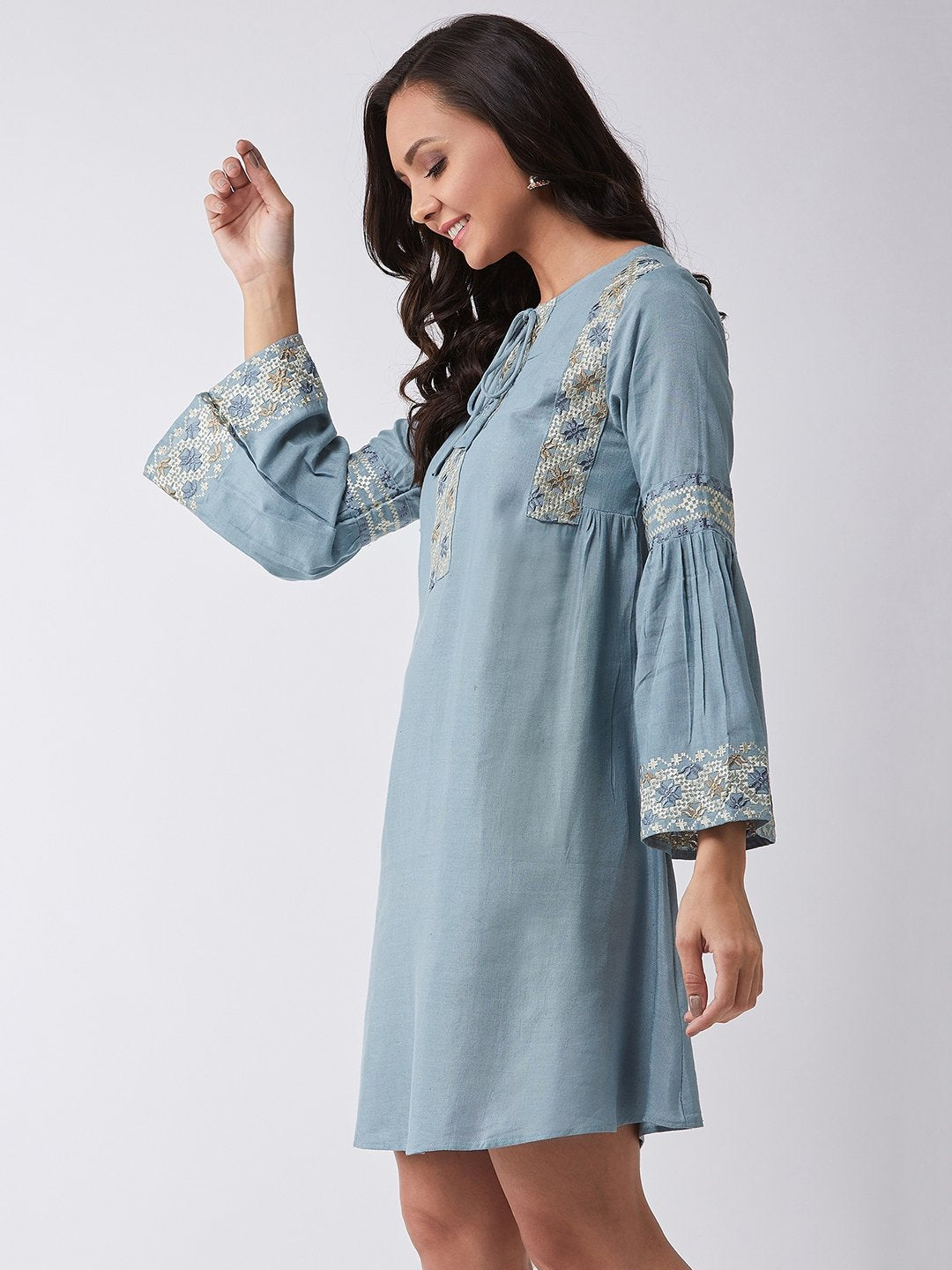 Hazy Blue Embroidered Dress