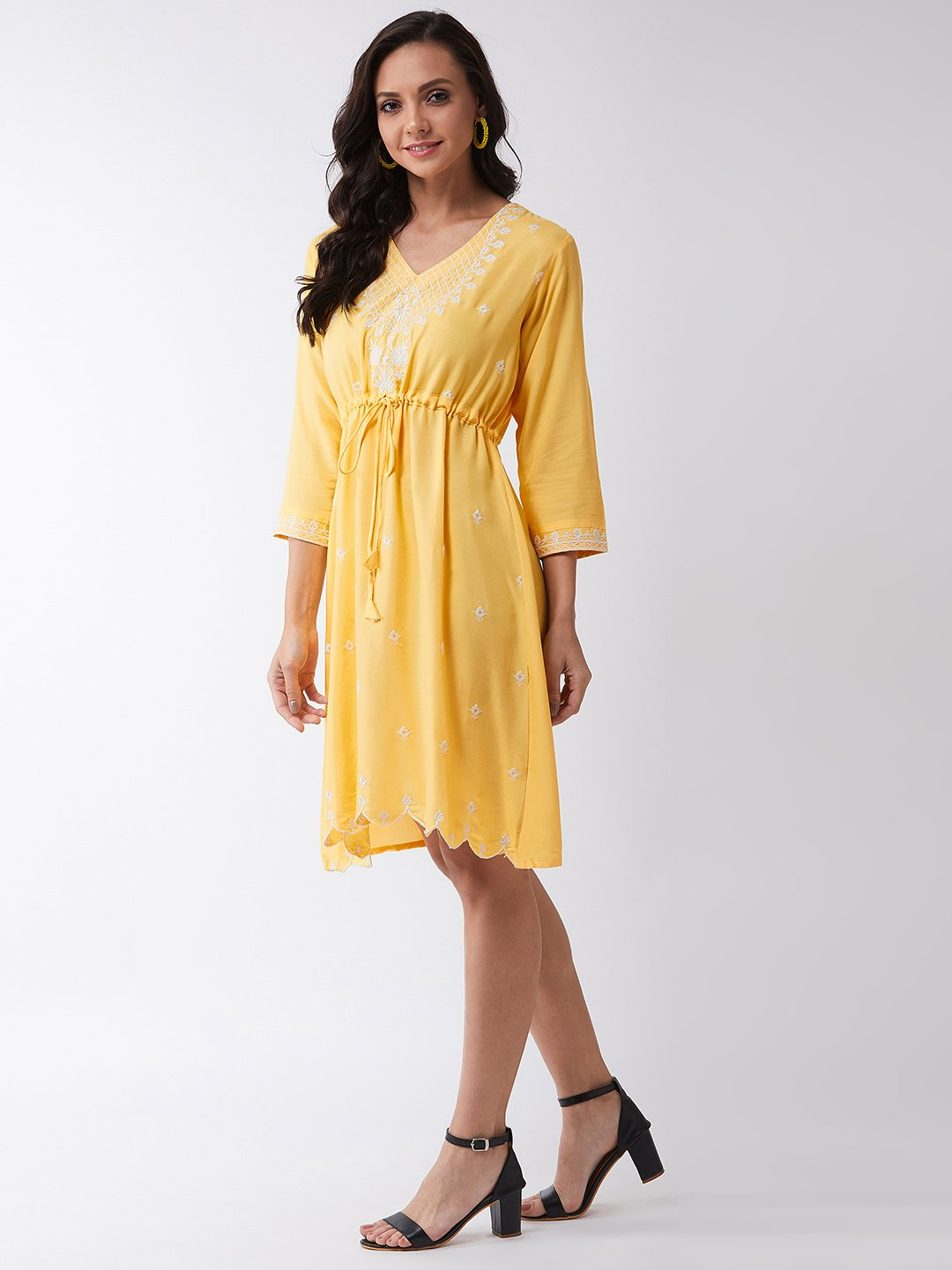 Sunshine Yellow Embroidered Dress
