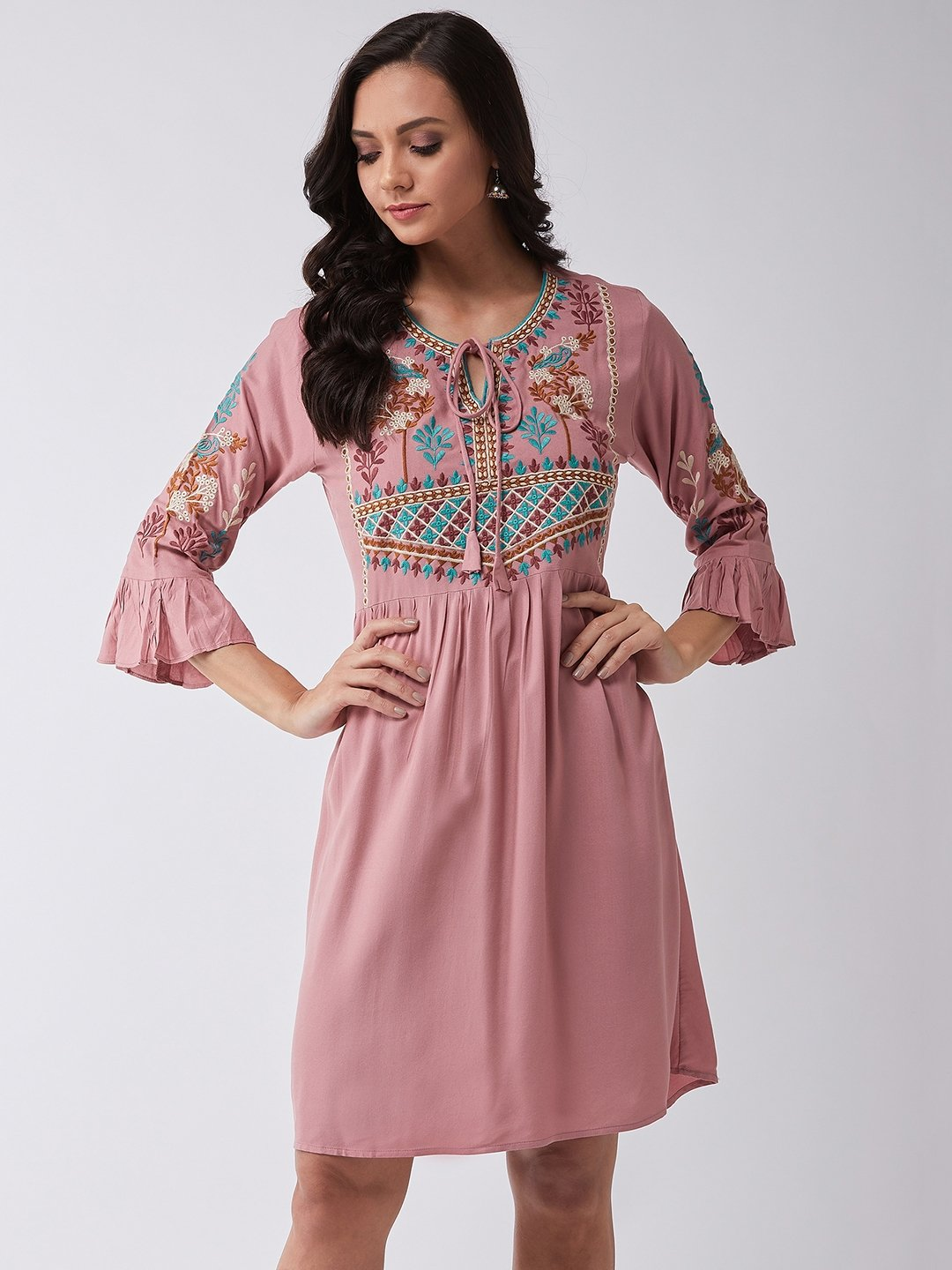 Ever Peach Embroidered Dress