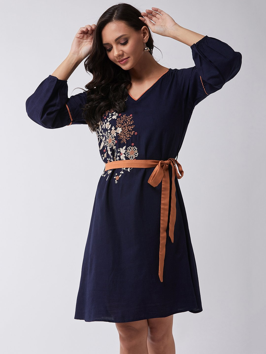 Blue Surprise Embroidered Dress
