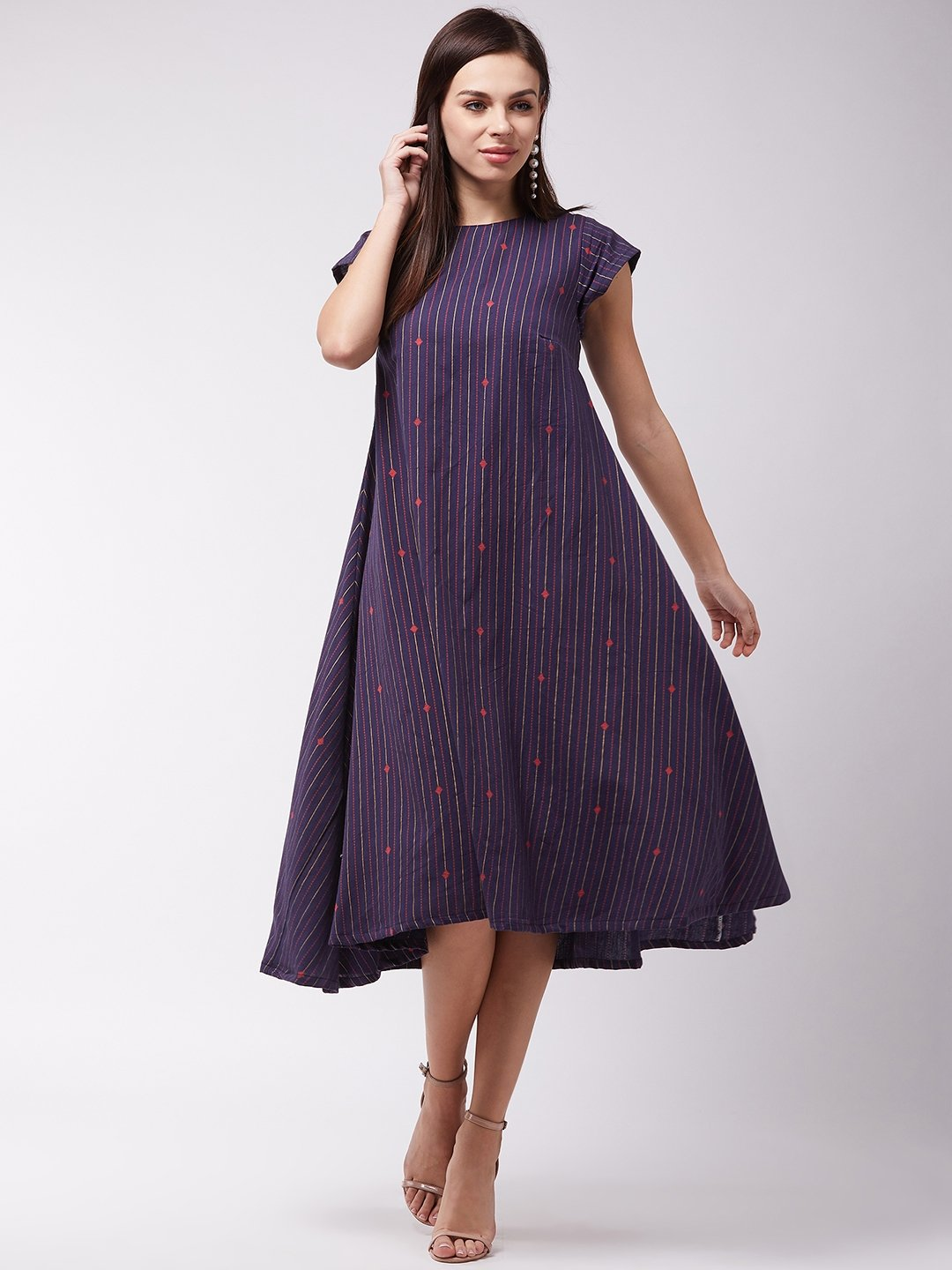 Navy Blue Striped A Line Dress