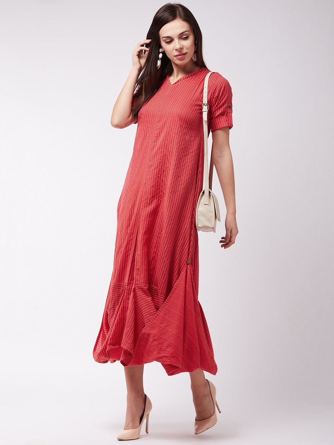 Red Kantha Cowl Dress