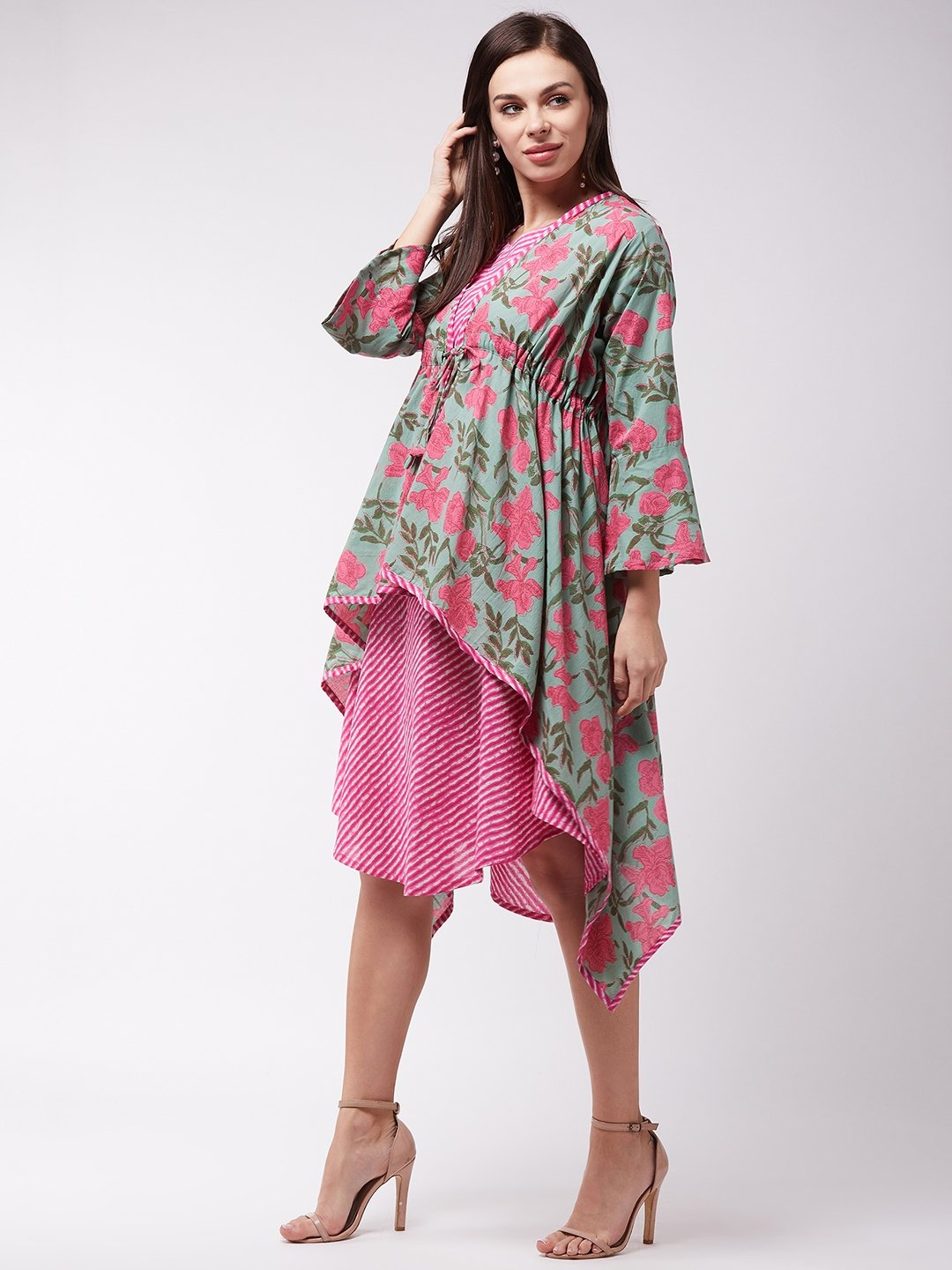 Green -Pink Floral Dress With Shrug