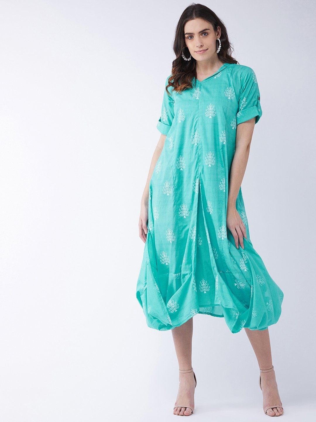 Sea Green Cowl Dress