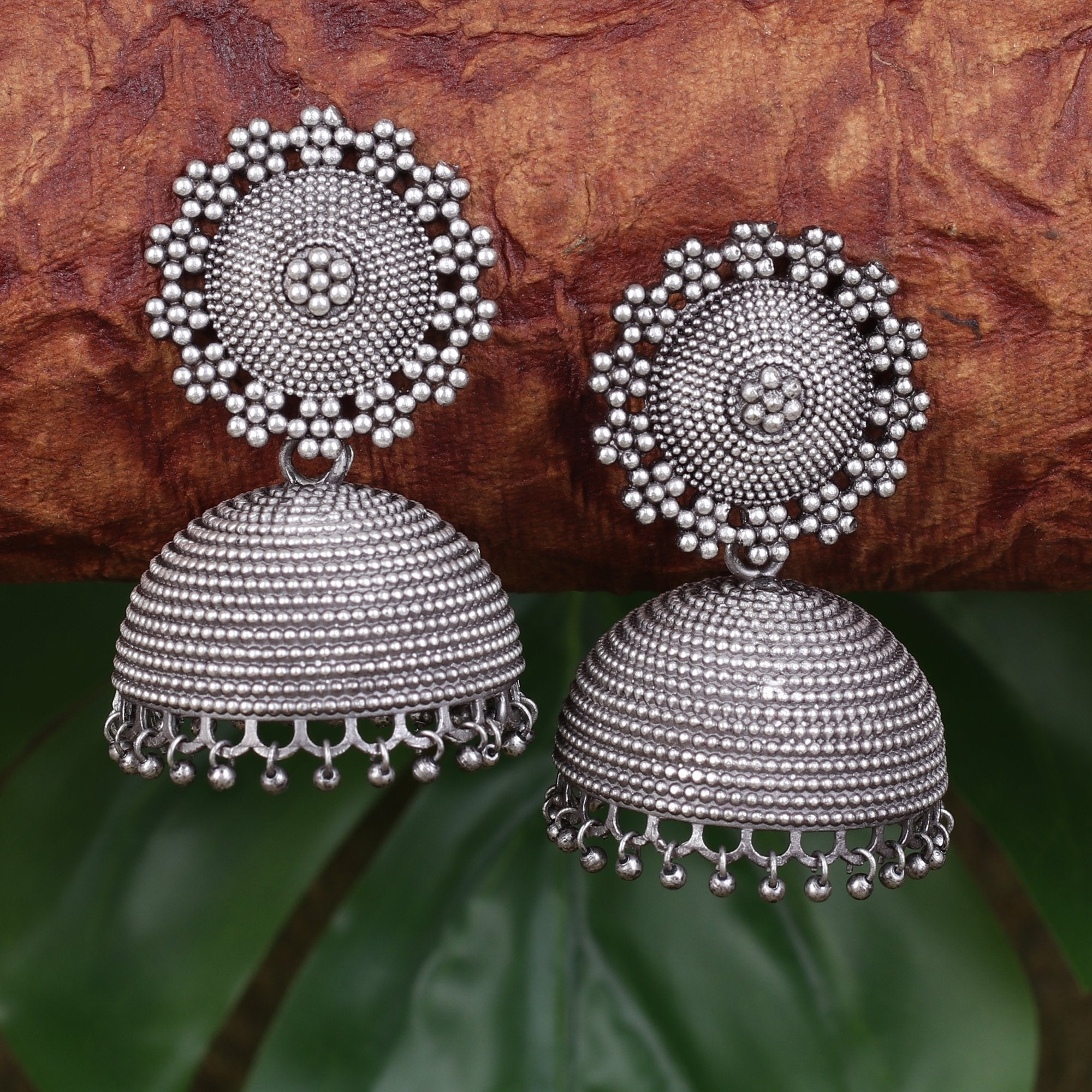 German Silver Oxidised Big Jhumkas