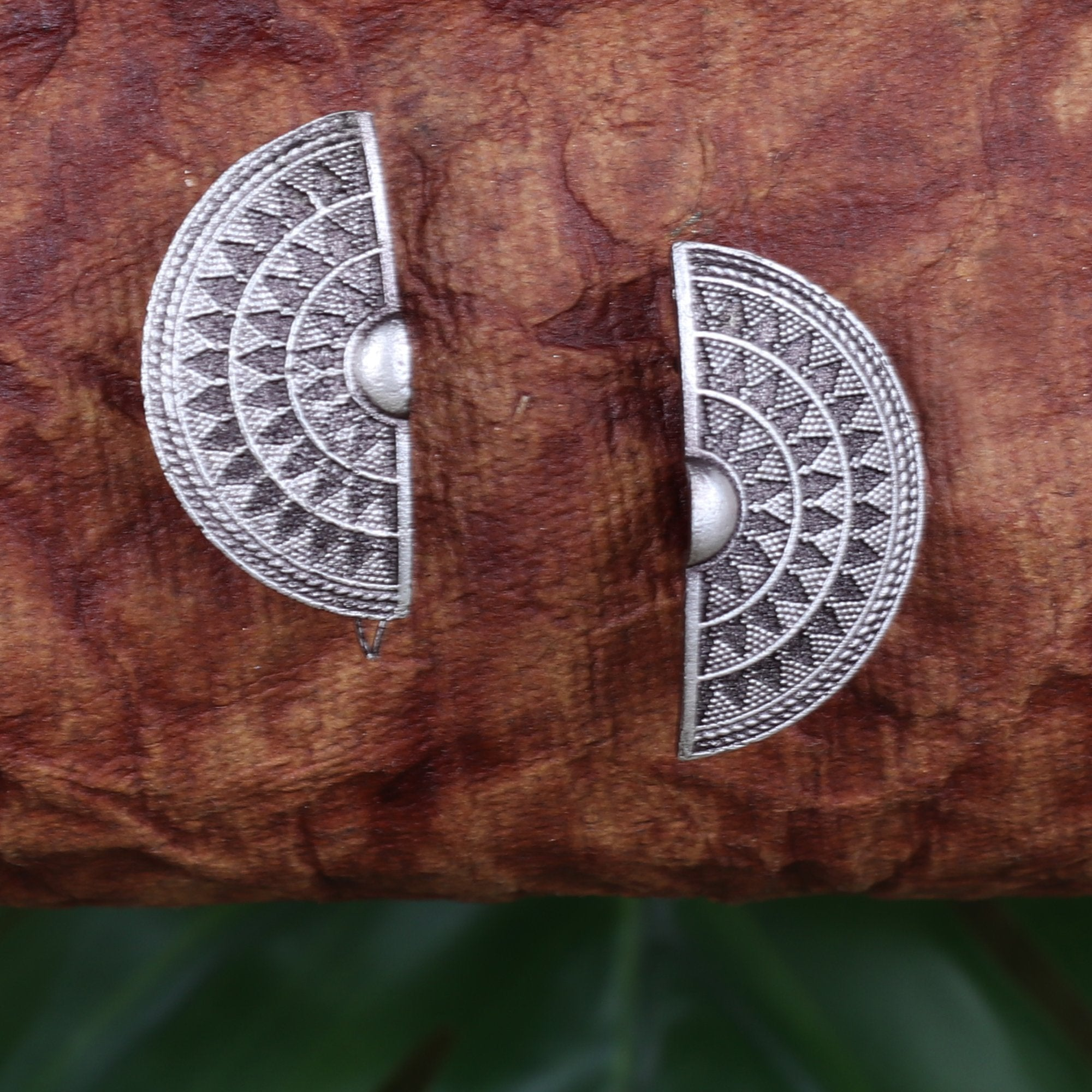 Oxidised Half Moon Earings