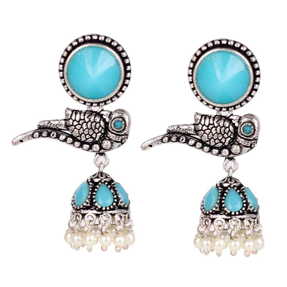 Oxidised Bird Jhumkas In Blue