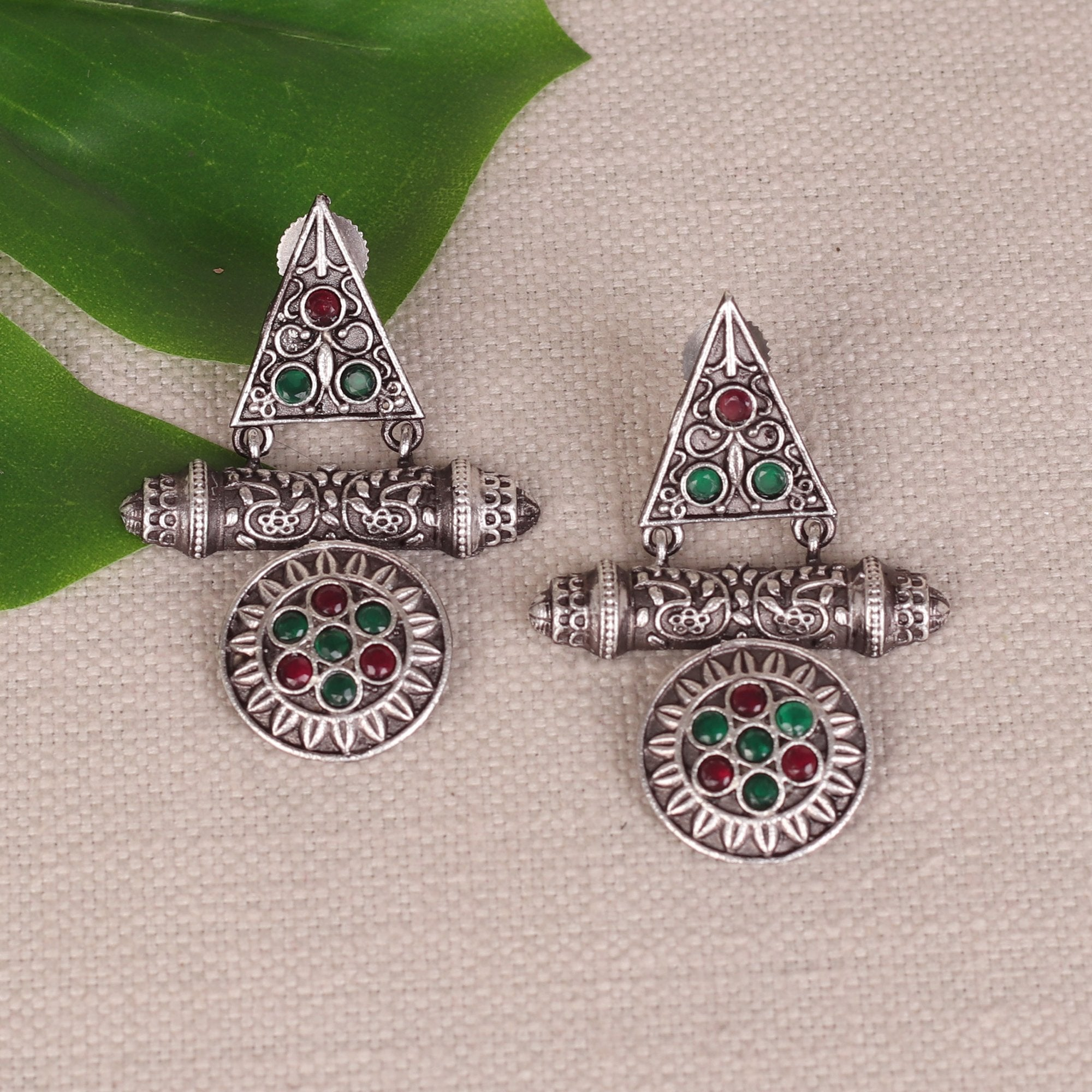German Silver Earings With Ethnic Motifs
