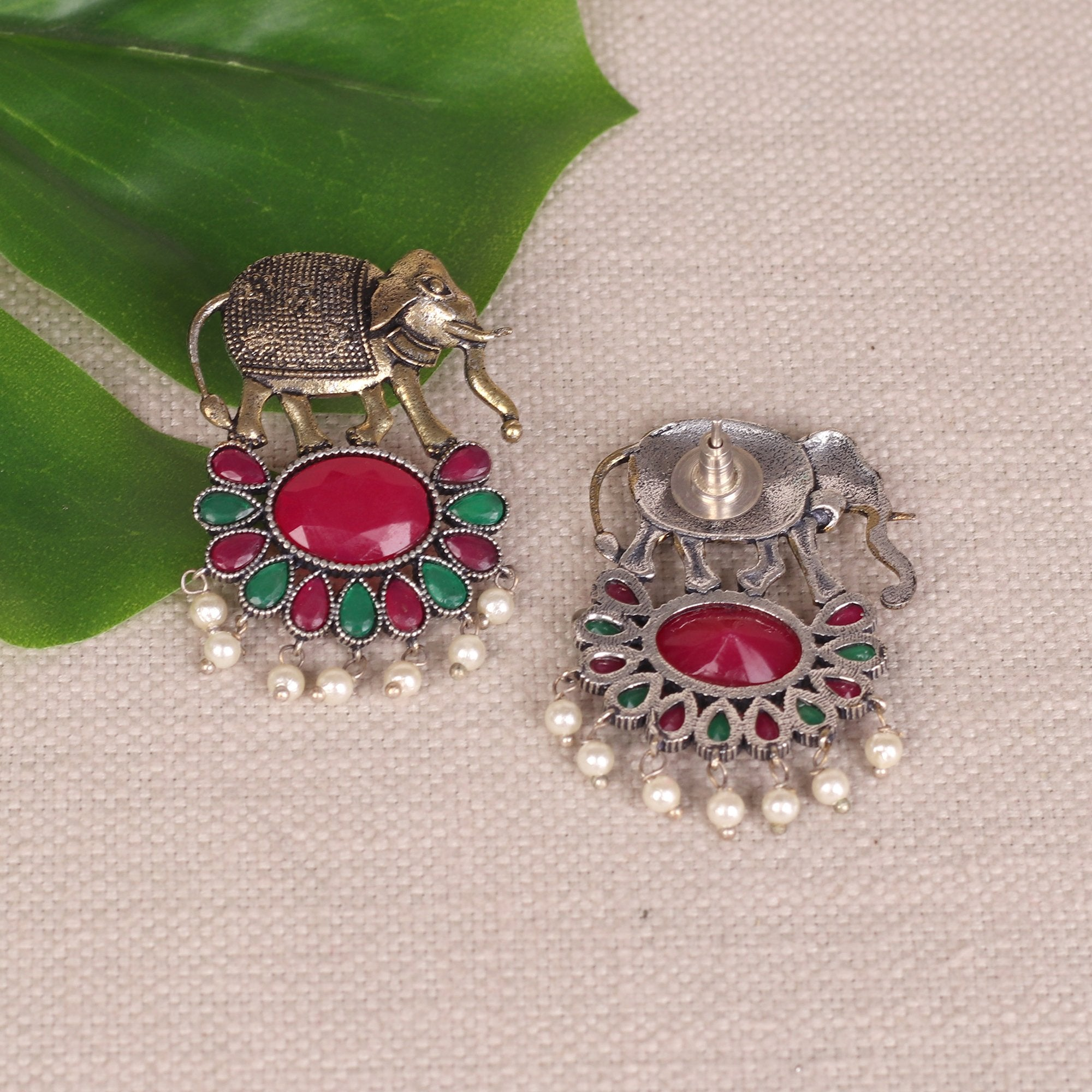Elephant Motif Earings With Stones