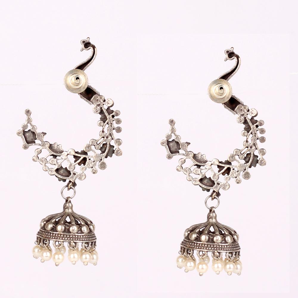 Oxidised Mayura Earings With White Beads