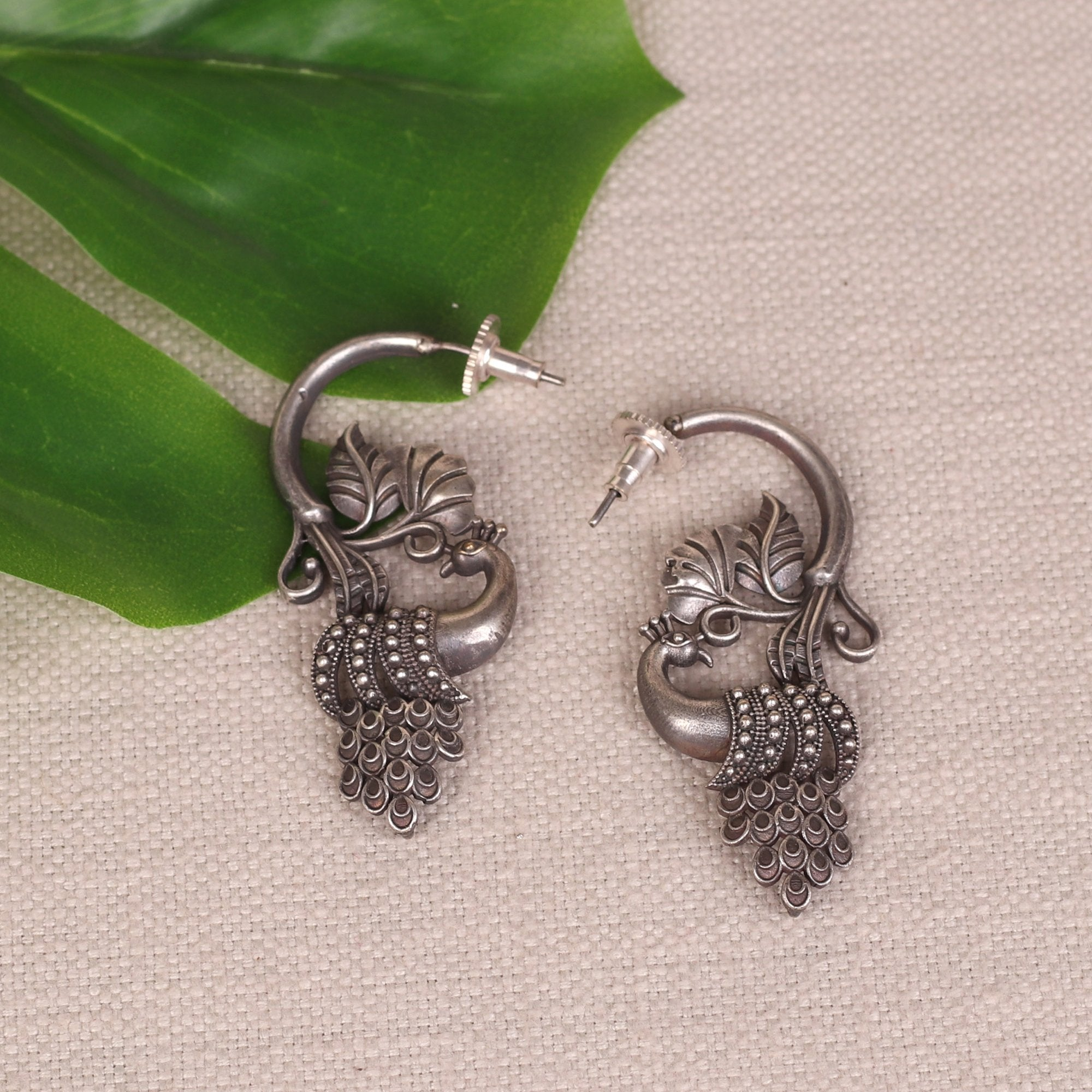 Oxidised Silver Peacock Earrings