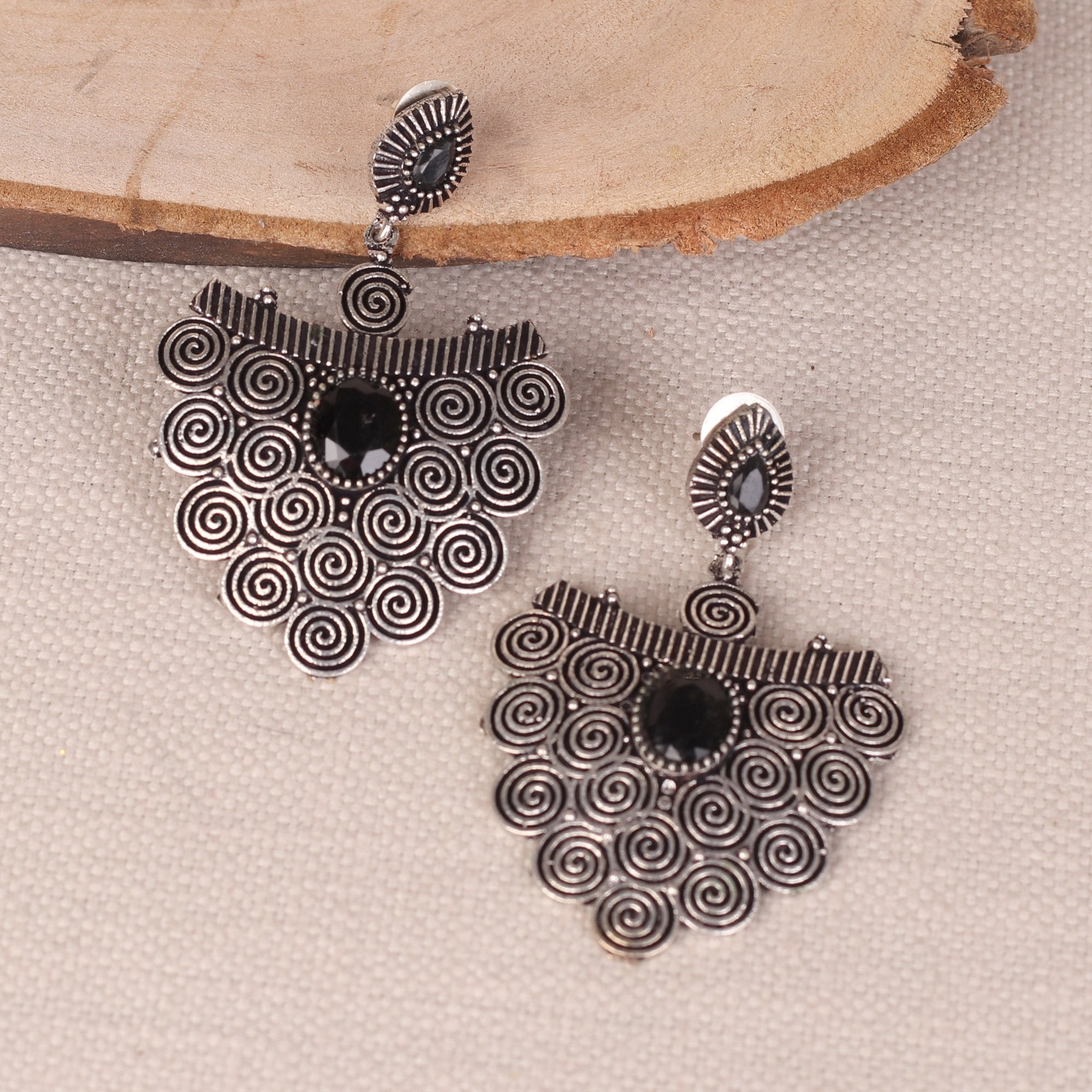 Stone Studded Hanging Earings In German Silver