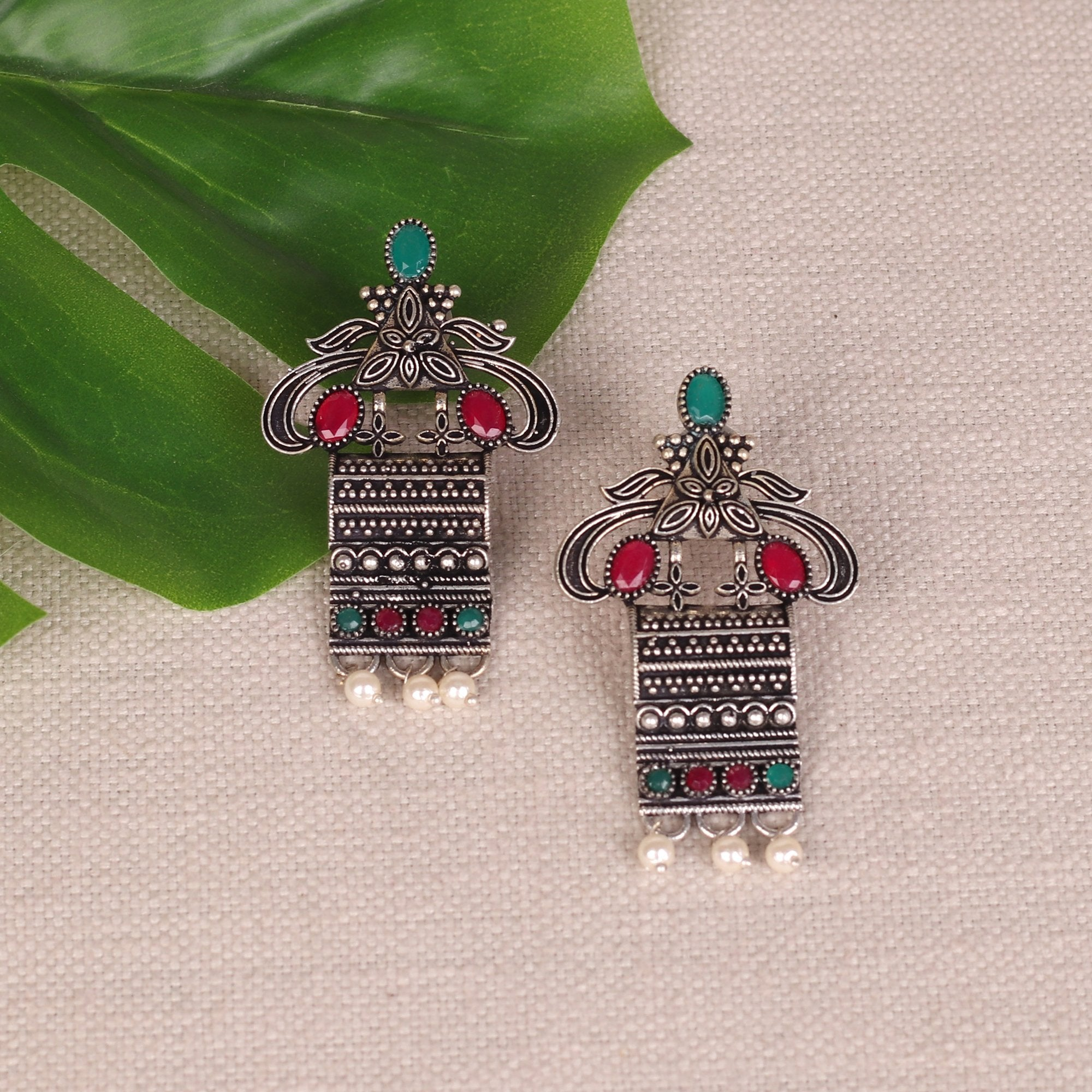 Tribal Motif Earings With Stone Work