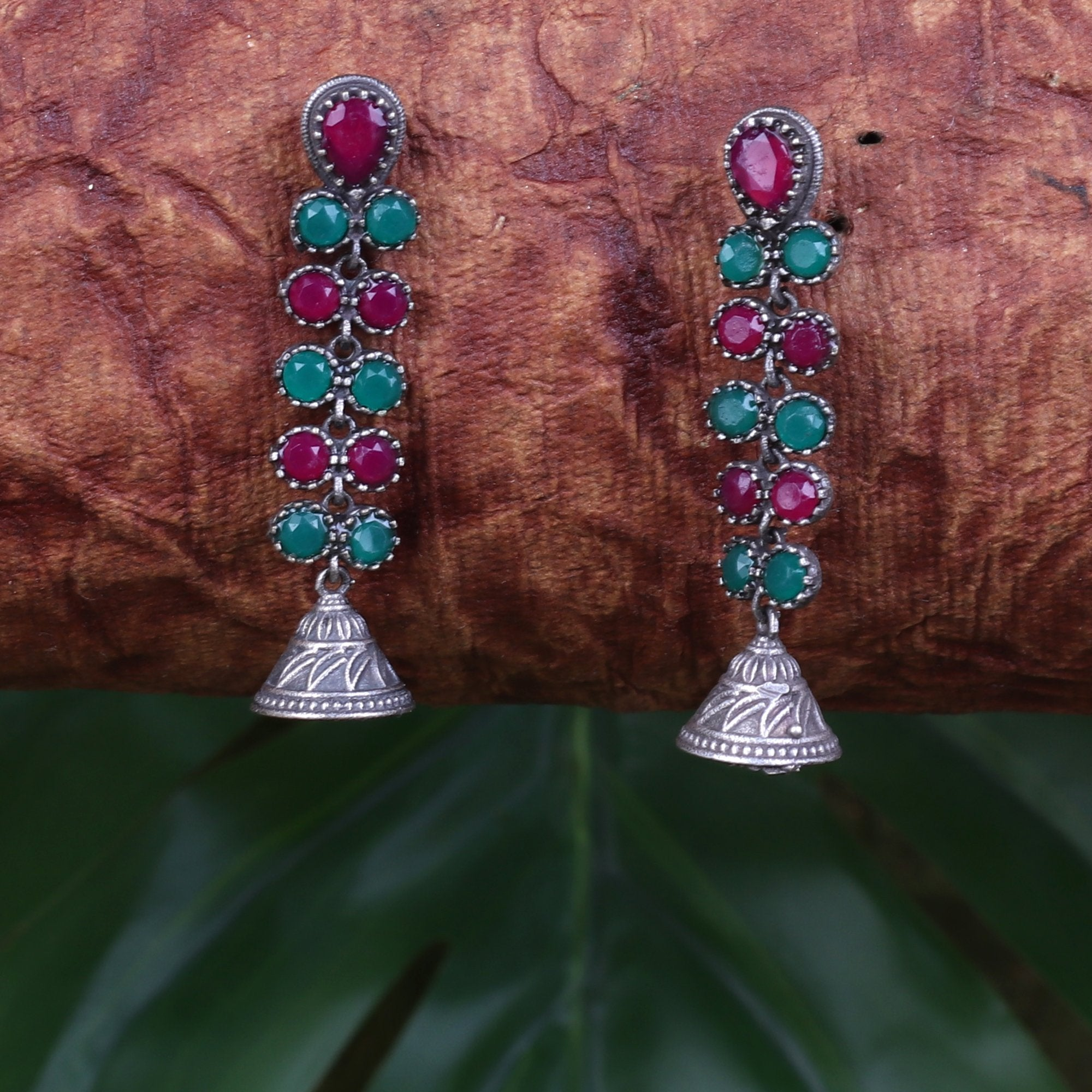 Oxidised Jhumkis With Intricate Work
